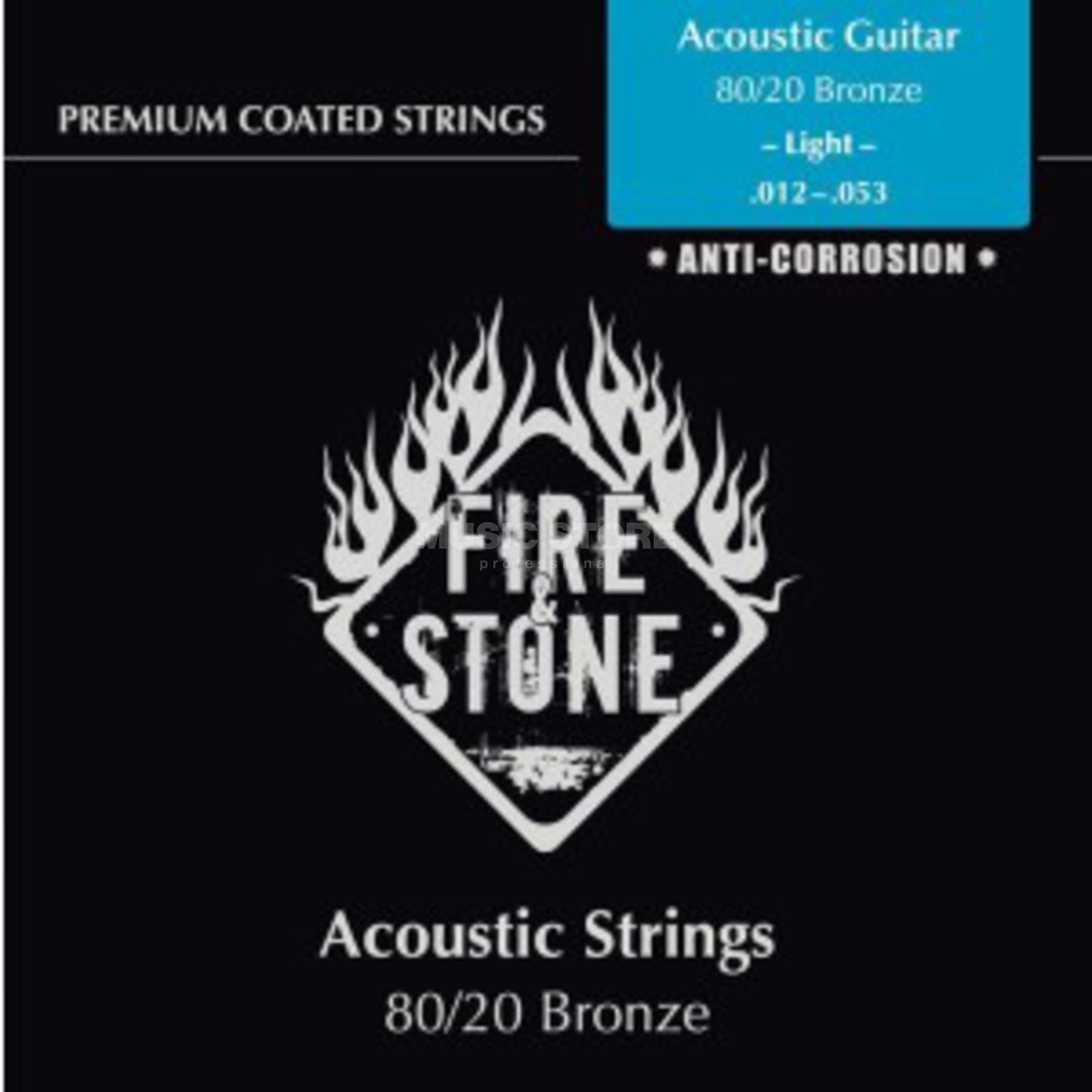 Fire & Stone A-Guitar Strings 12-53 Coated Light, 80/20 Bronze Produktbillede
