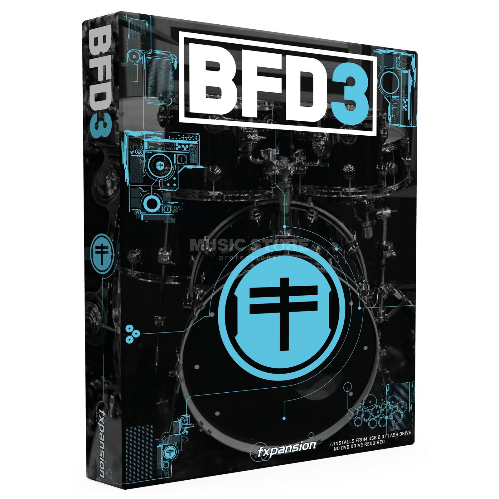 FXpansion BFD 3 Box - 64 GB USB Stick Evolved Acoustic Drum Software Produktbillede