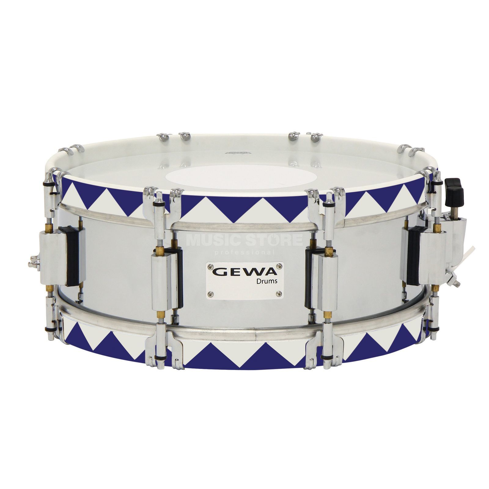 "Gewa Marching Snare 14""x5"", Historic Hoop, Blue Product Image"