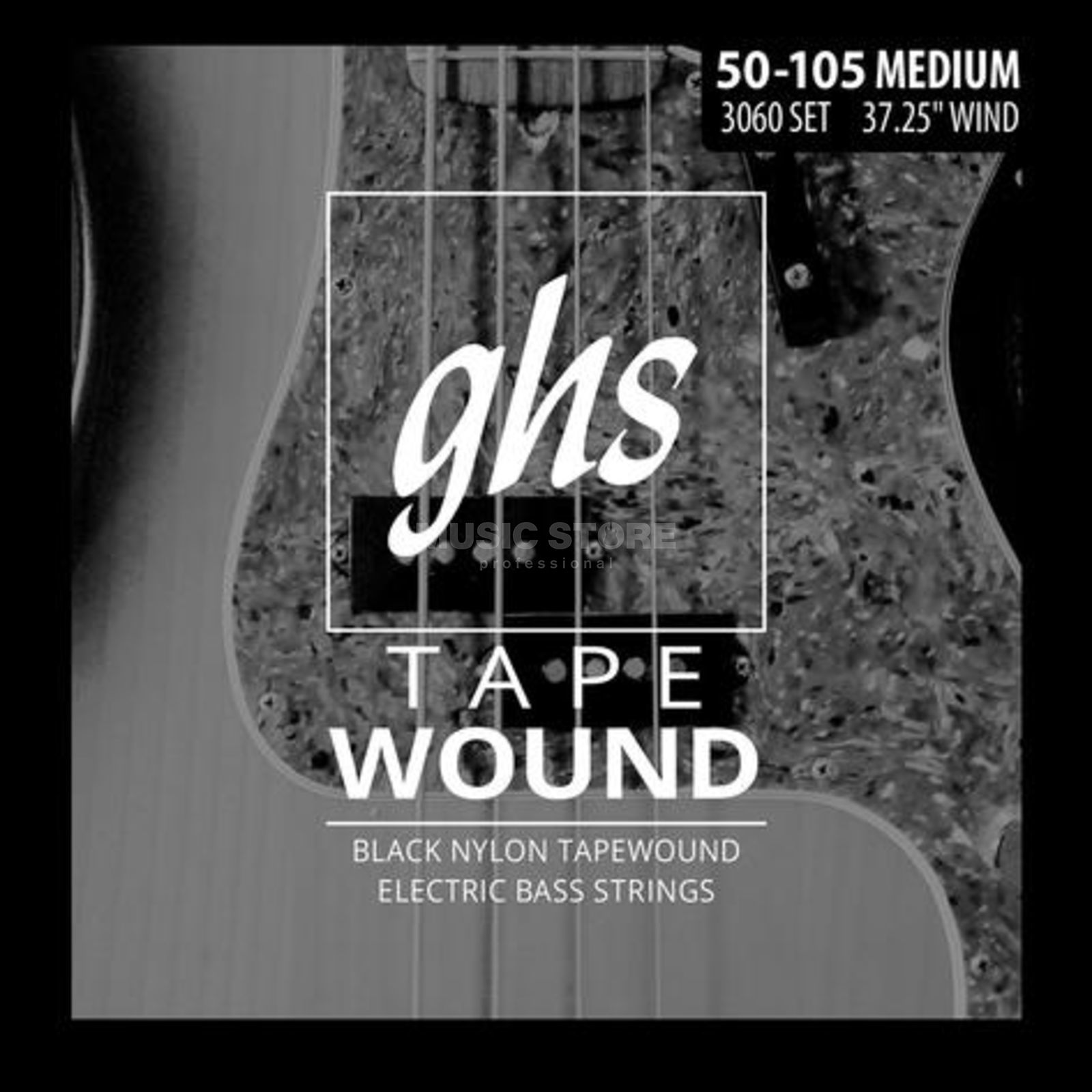 GHS 4er bas Tapewound zwart Nylon 50-70-90-105 Productafbeelding