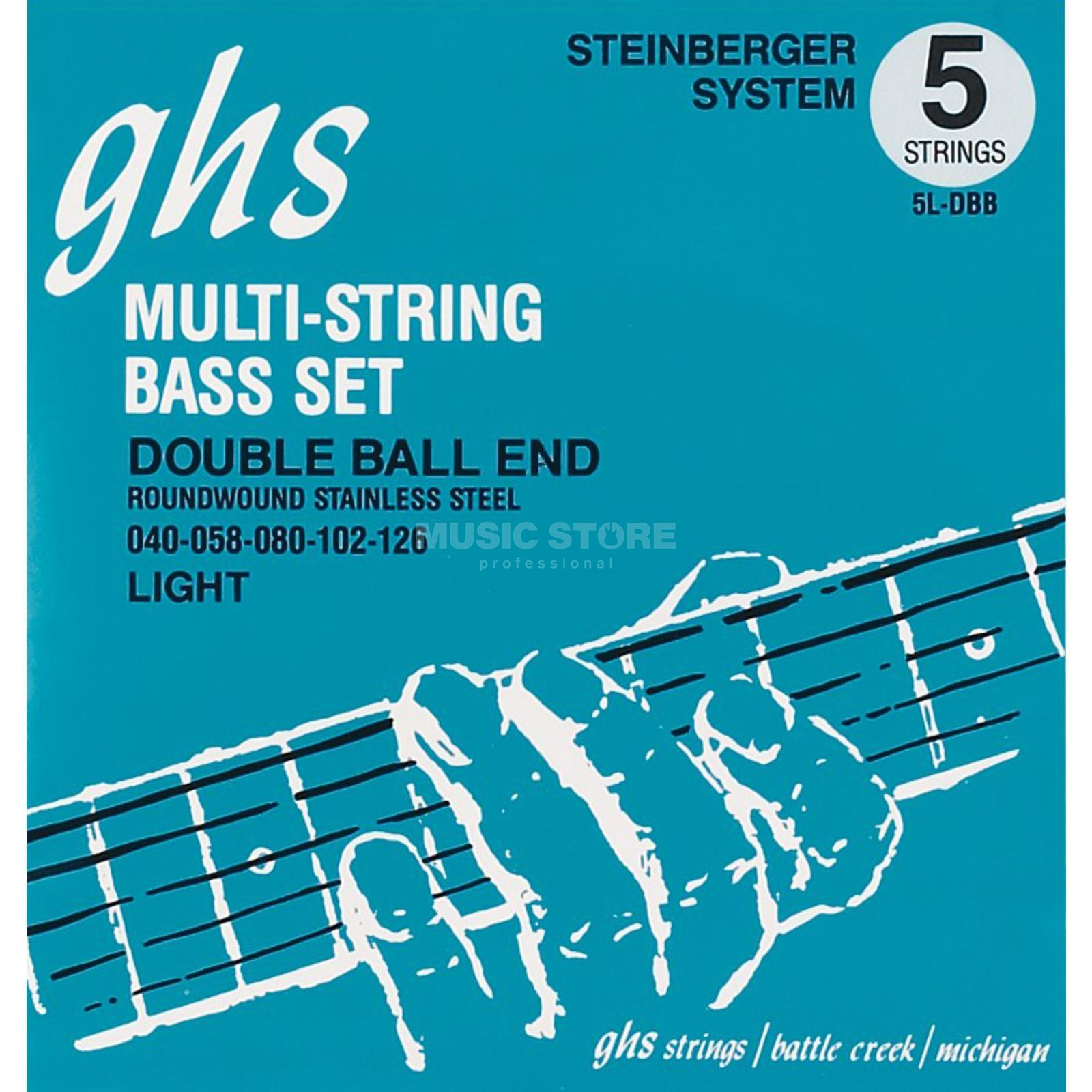 GHS 5 String Bass Double Ball 40-126 40-58-80-102-126 Produktbillede