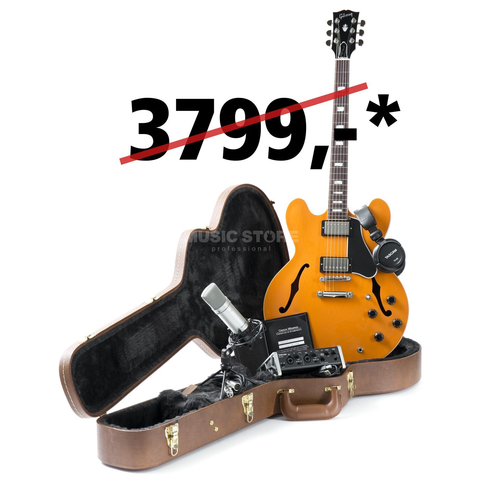 Gibson ES-335 Trackpack Combo Tascam Orange #11276744 Product Image