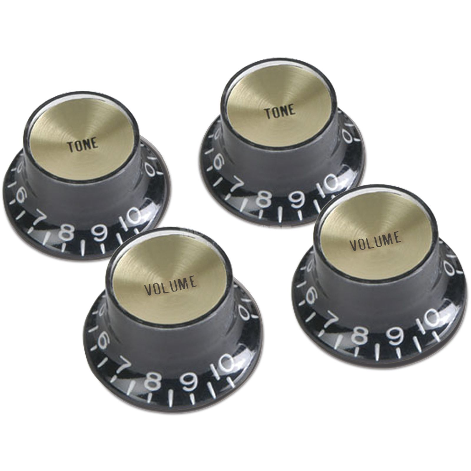 Gibson PRMK-020 Top Hat Knob Black Set 4 St Metalleinlage Gold Produktbillede