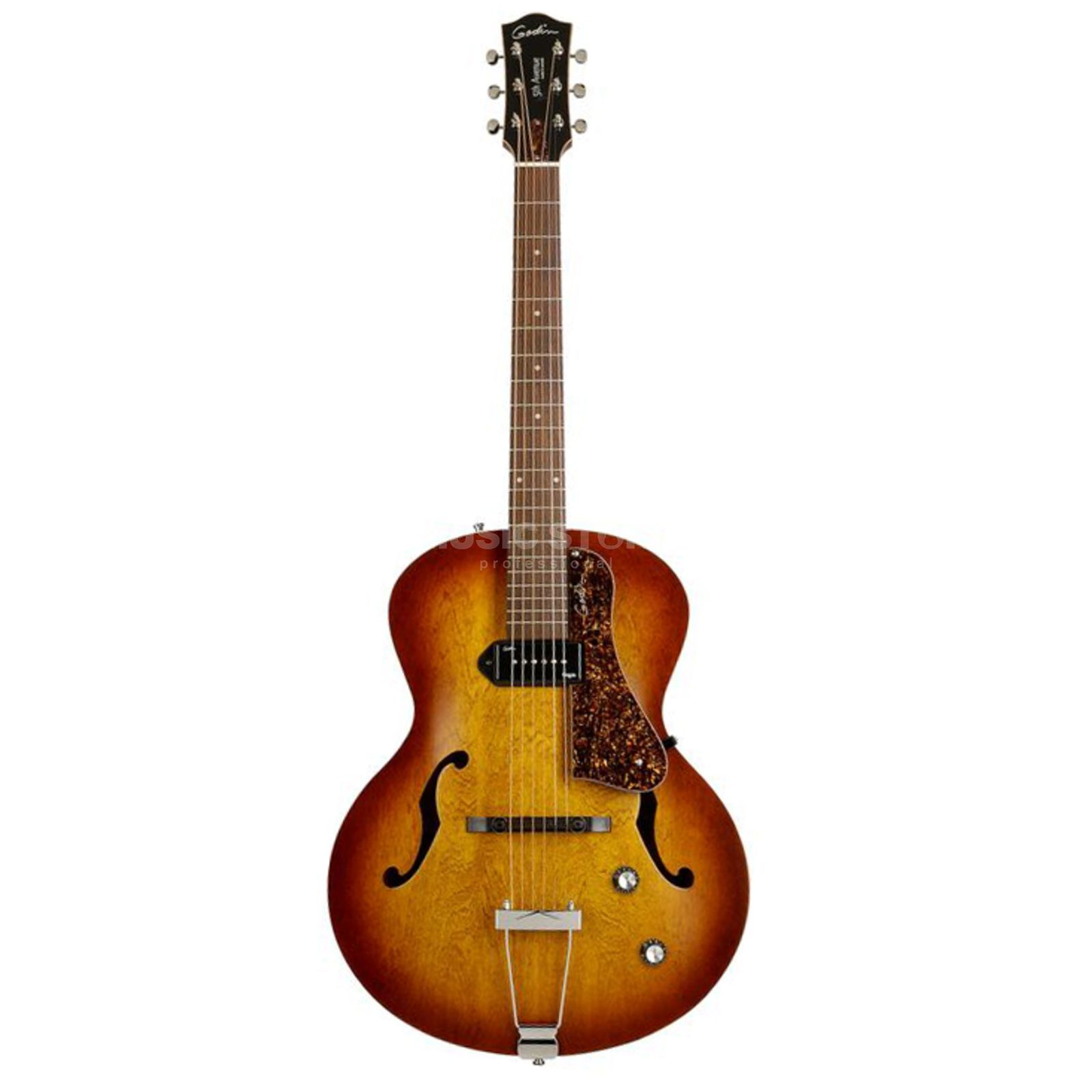 Godin 5th Avenue Kingpin Semi Acoust ic Guitar, Cognac Burst   Produktbillede