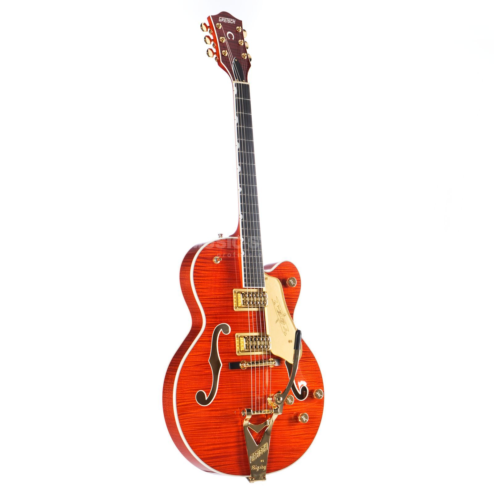 Gretsch G6120TFM Players Edition Nashville Bigsby Flame Maple Orange Stain Imagem do produto