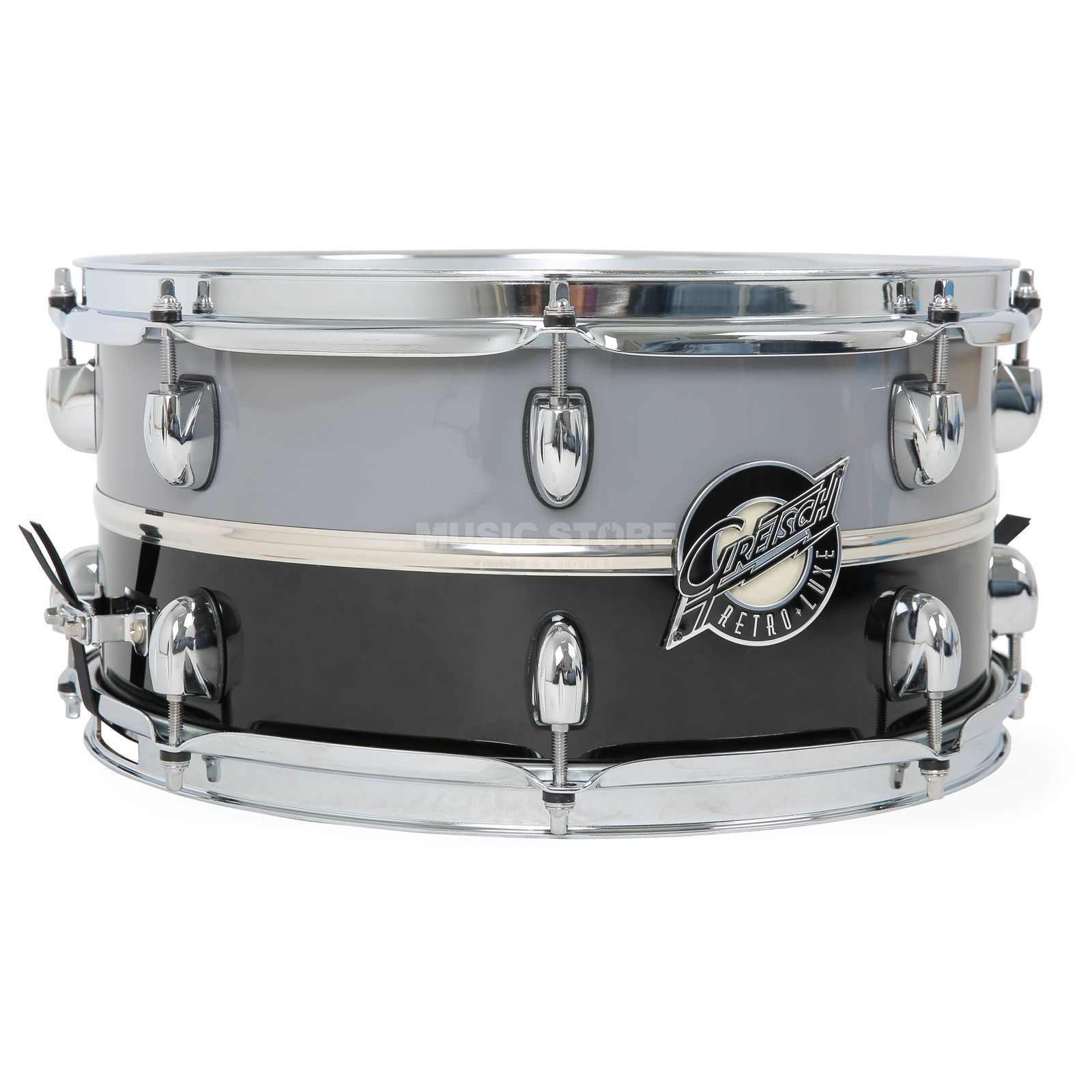 "Gretsch Retro-Lux Snare 14""x6,5"", Pewter/Black, Chrom Band Produktbild"