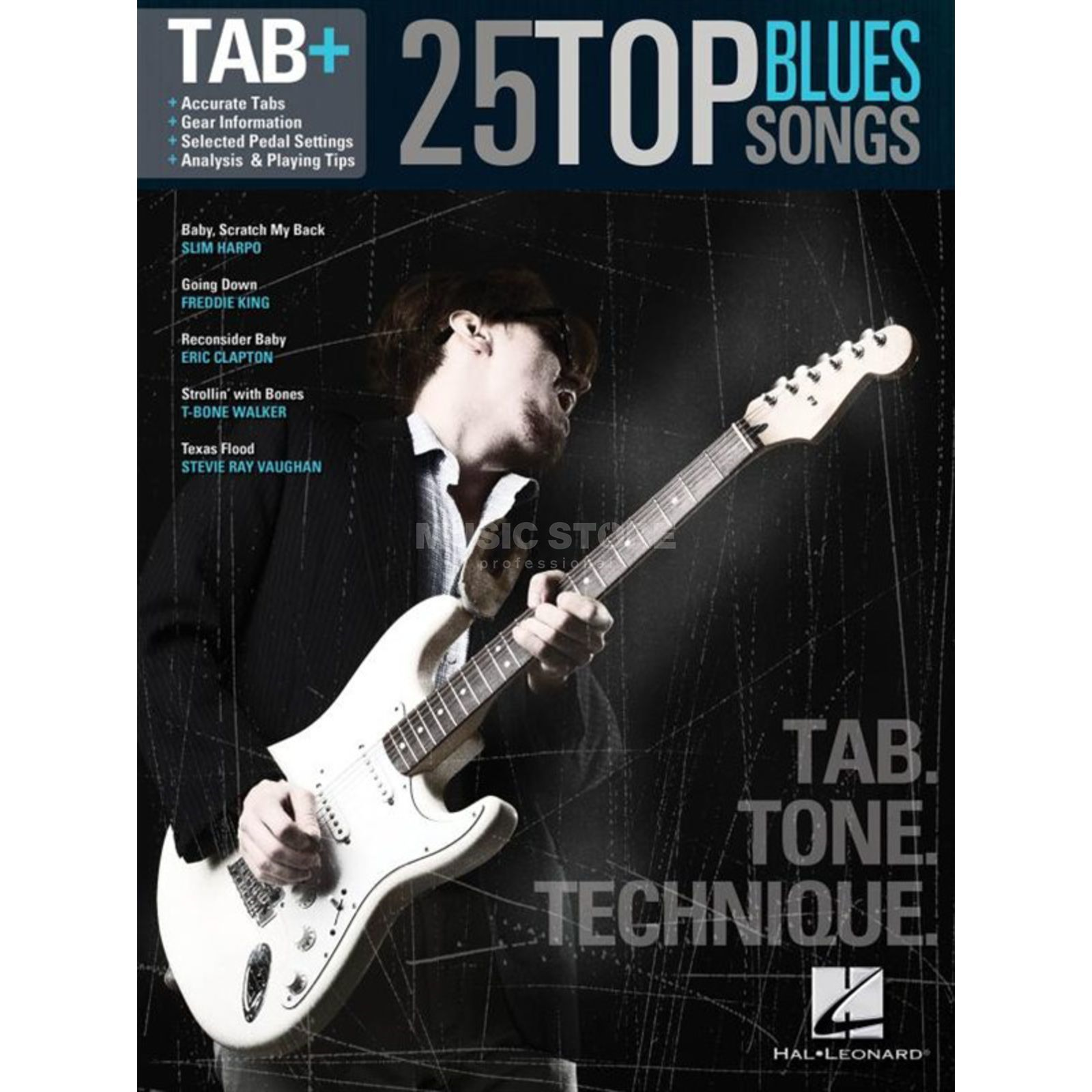Hal Leonard Tab+: 25 Top Blues Song Tab. Tone. Technique Produktbild