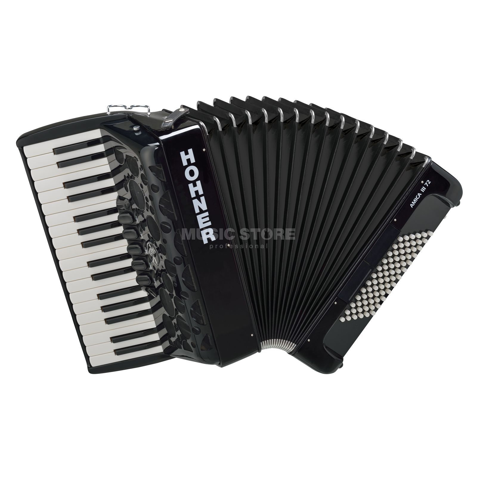 Hohner Accordion Piano Style Amica 72 basses, III choirs, black Produktbillede