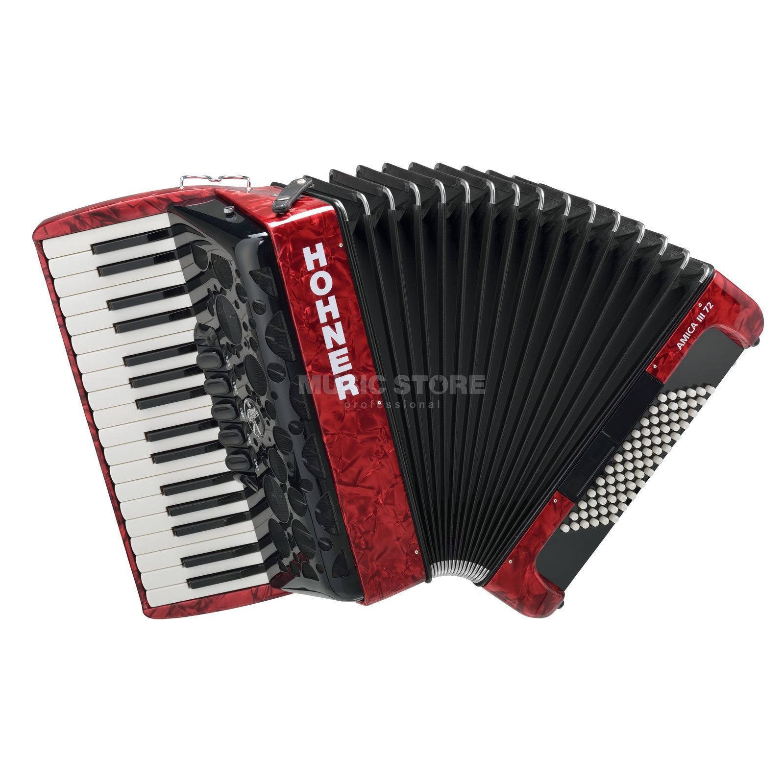 Hohner Accordion Piano Style Amica 72 basses, III choirs, red Produktbillede