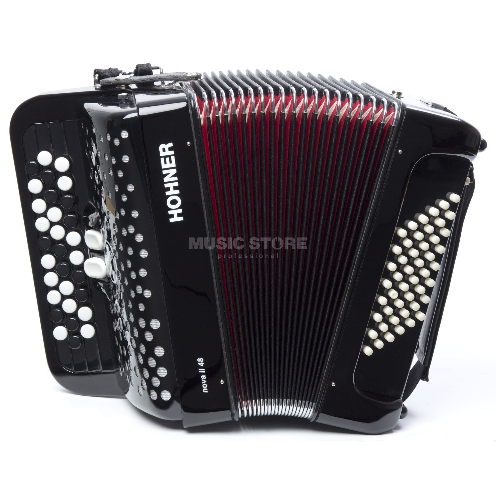 Hohner Nova II 48 Button-Accordion B-System, Black Produktbillede