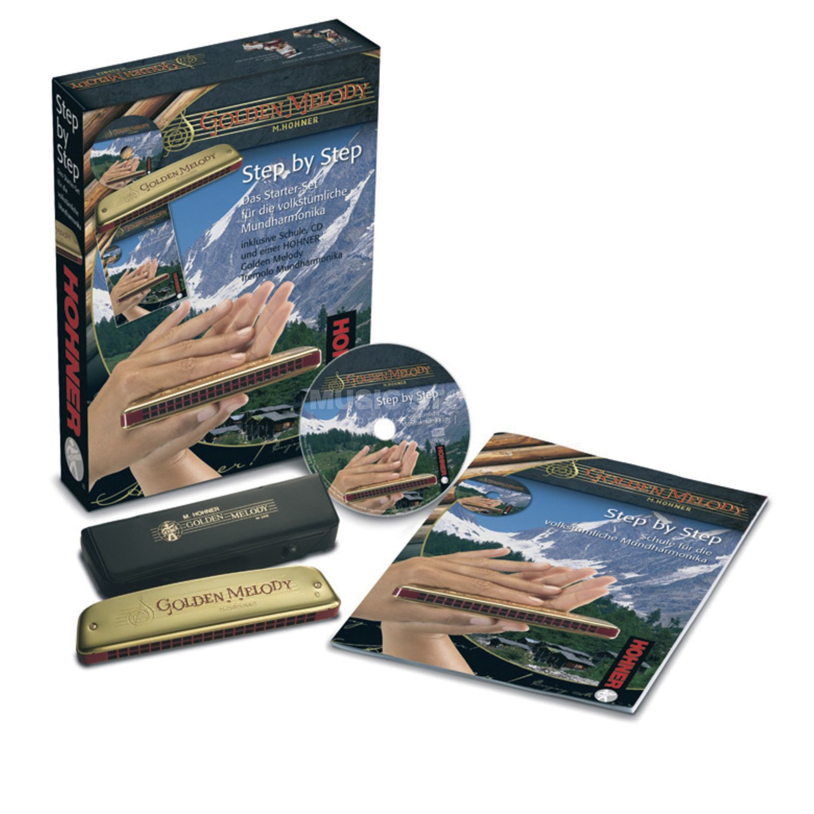 Hohner STEP BY STEP - VOLKSTÜMLICH  inc. Golden Melody, CD, Livre Image du produit