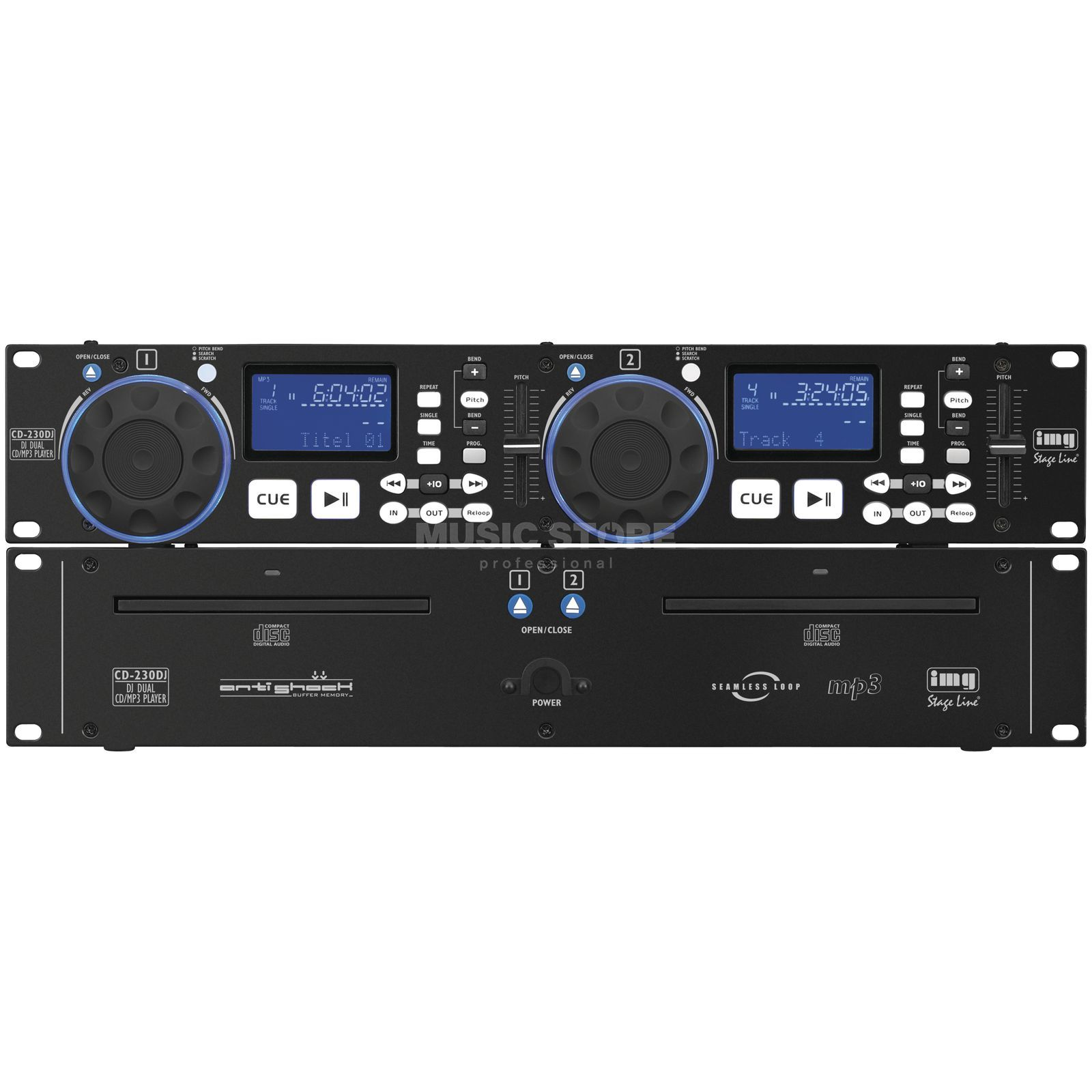 IMG STAGELINE CD-230DJ DJ-Dual-CD-/MP3-Player Immagine prodotto