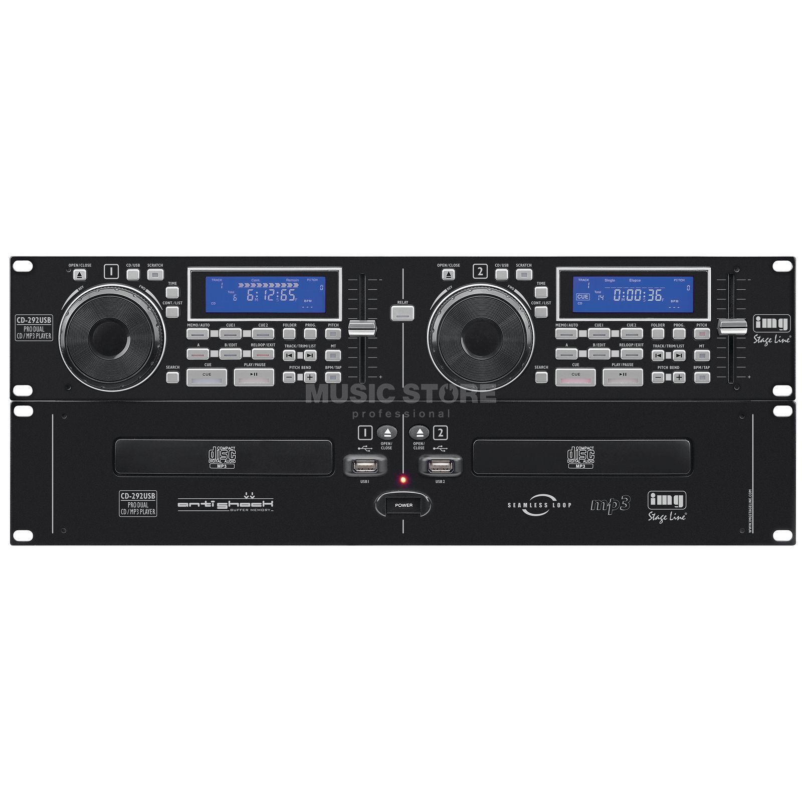 IMG STAGELINE CD-292USB DJ-Dual-CD- und MP3-Spieler Product Image