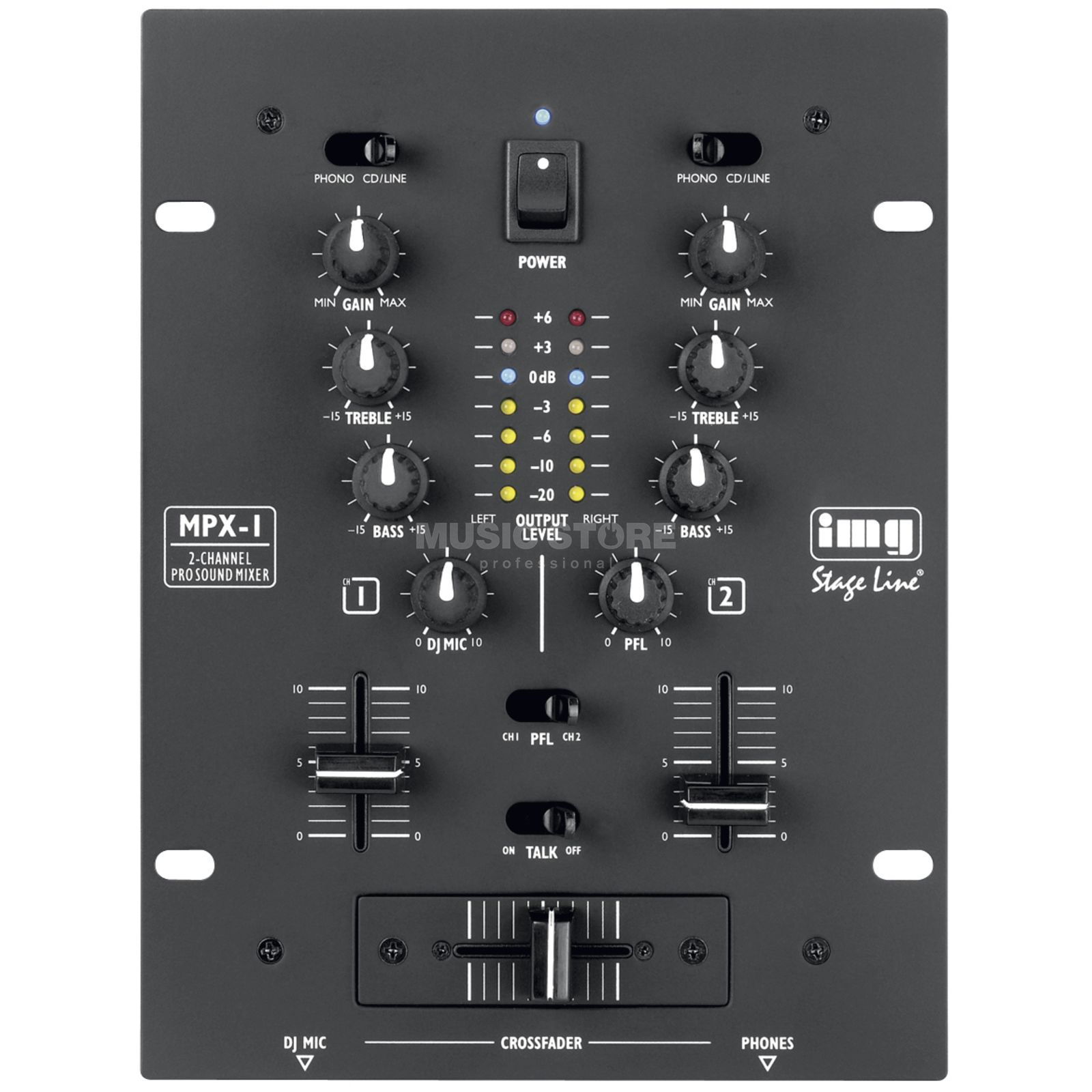 IMG STAGELINE MPX-1 BK 2-Channel Mixer, Black Product Image