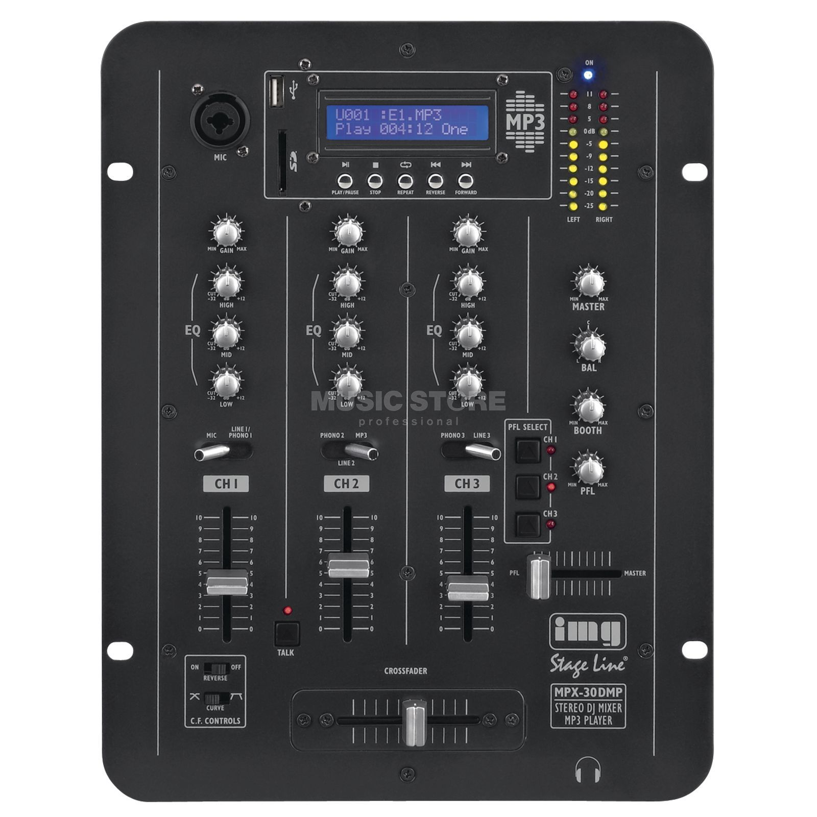 IMG STAGELINE MPX-30DMP 3-Kanal DJ-Mixer m. MP3-Player Produktbild