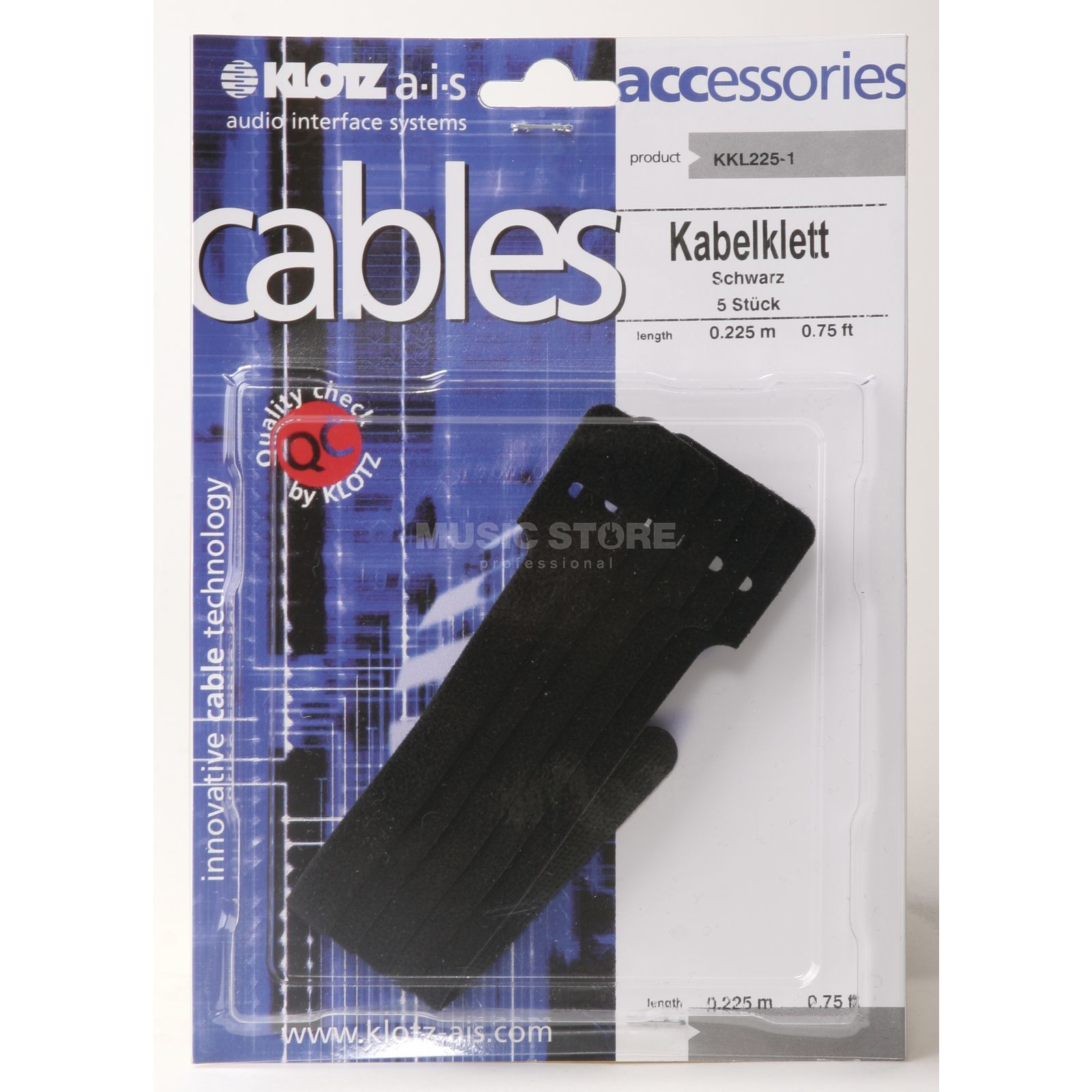 Klotz Cable Tie, Pack Of 5 Black, 225mm Produktbillede