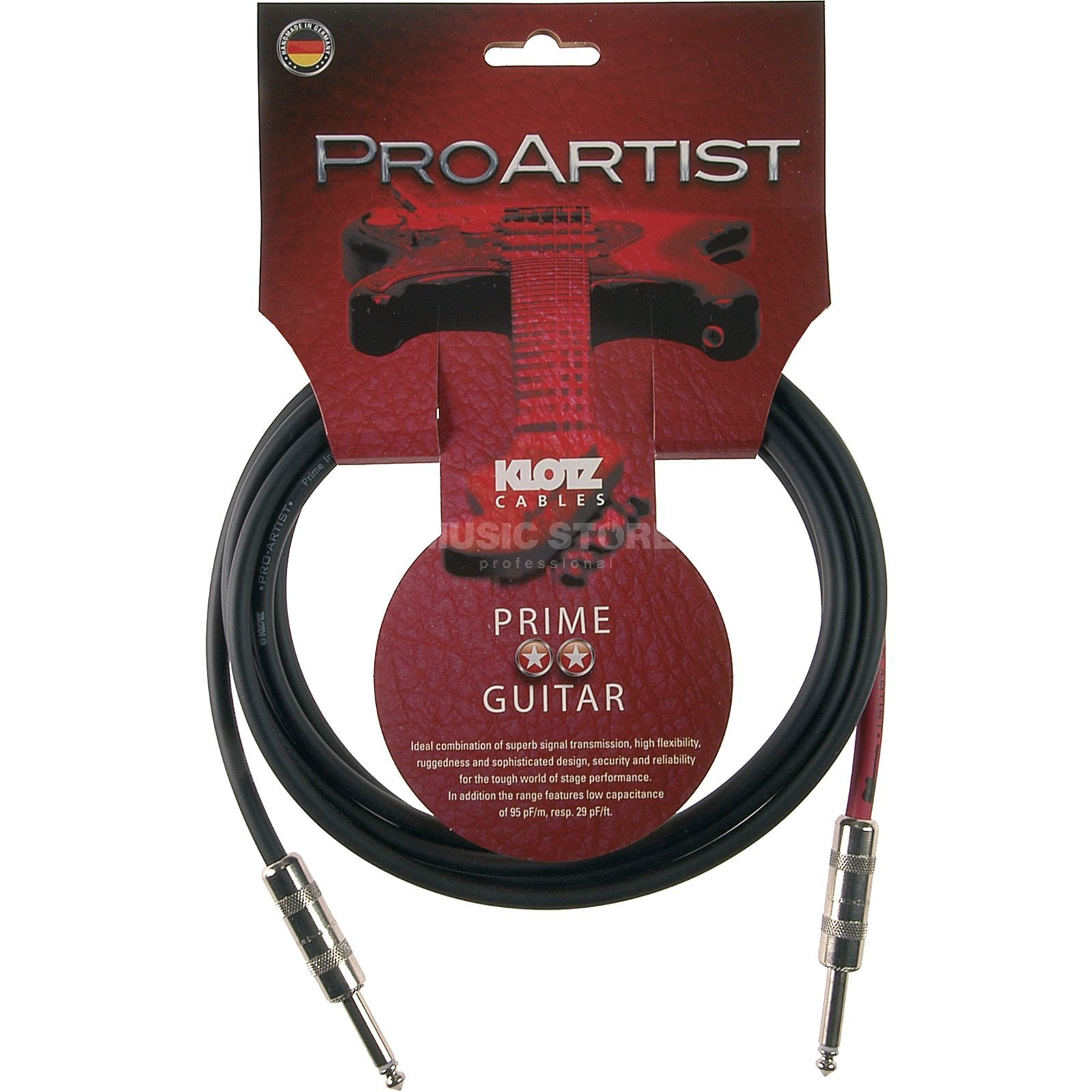 Klotz Instrument Cable,1,5m,straight Pro Artist, PROA015PP Product Image