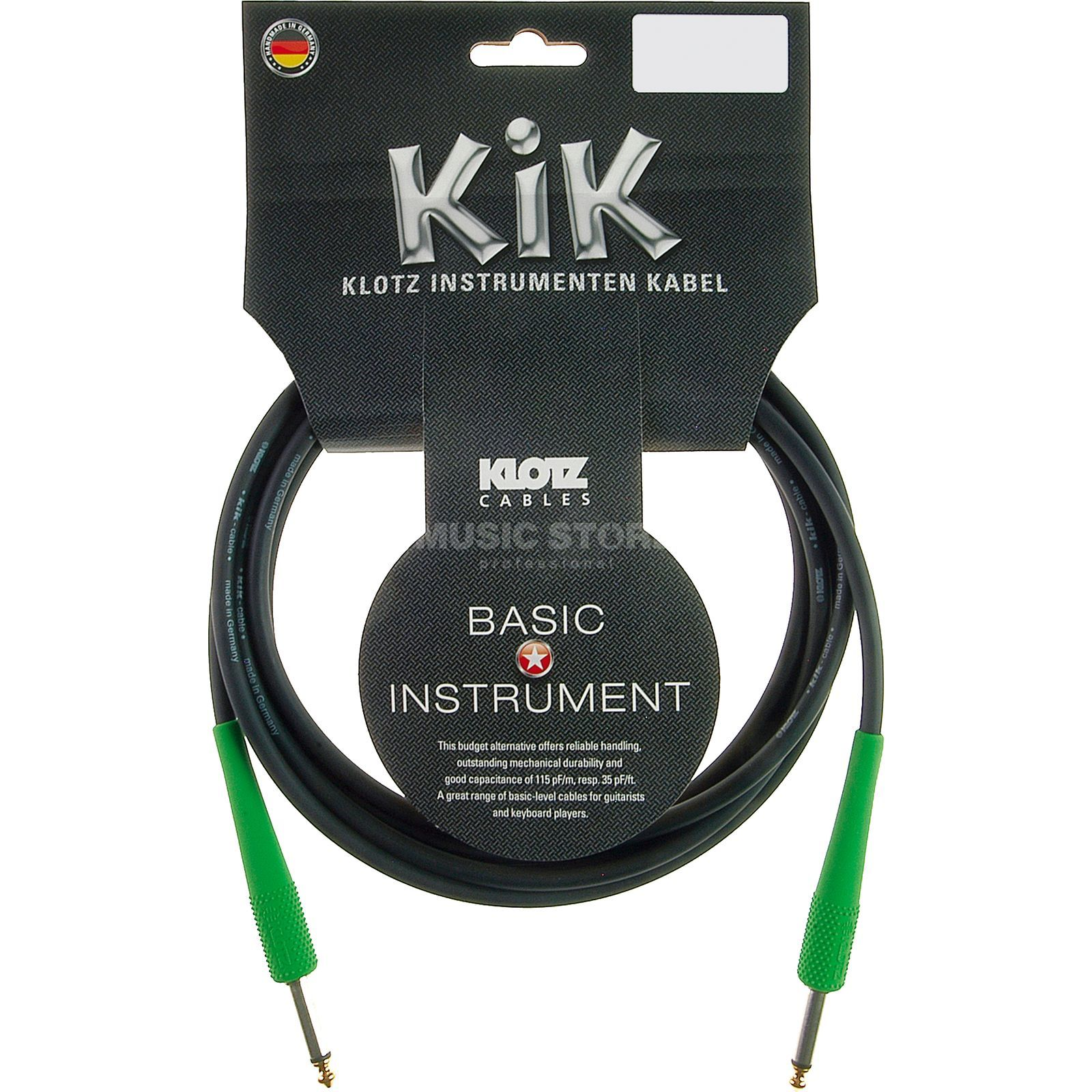 Klotz Instrument Cable 6m black KIK-Coloured fresh green Produktbillede