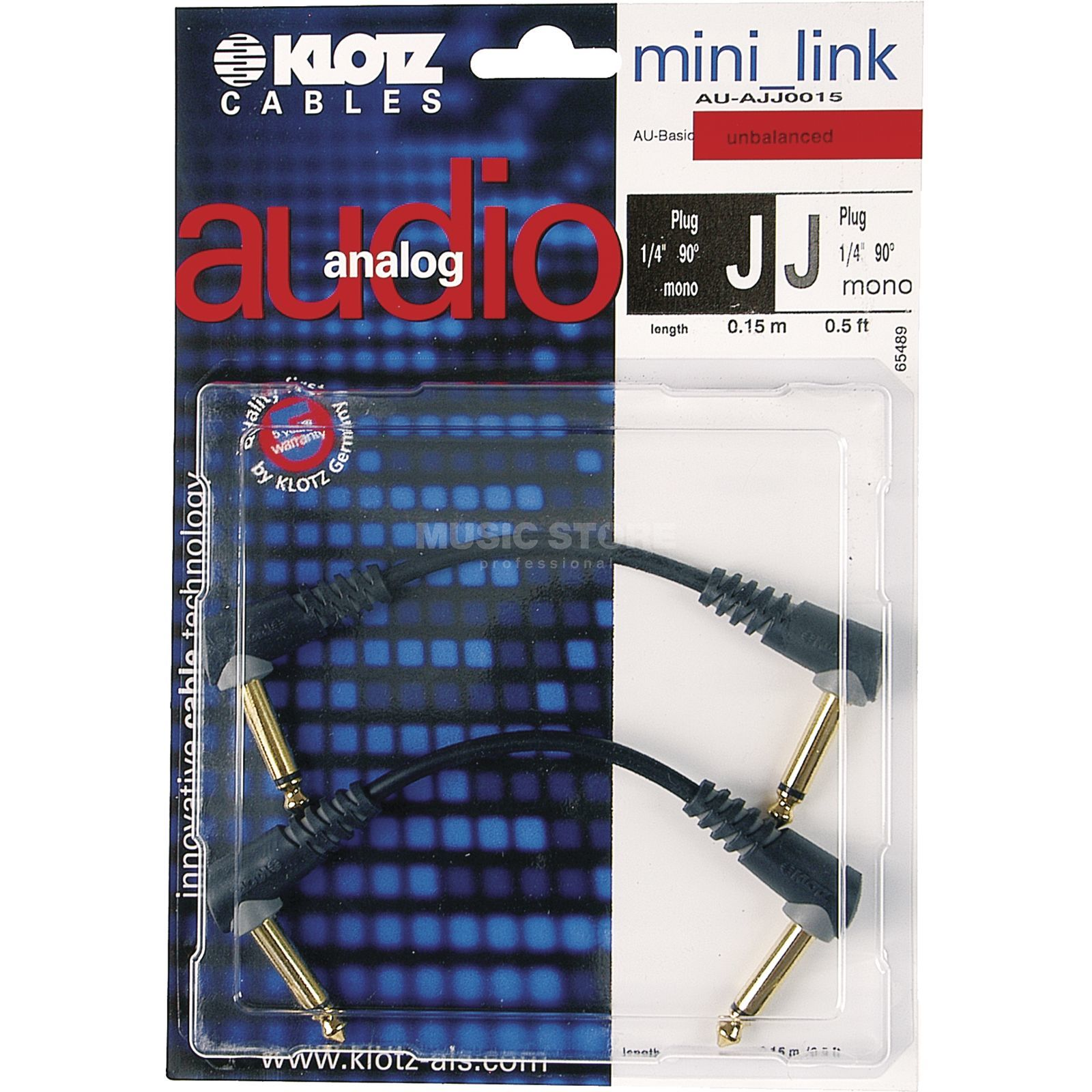 Klotz Patch Cable Mono 0,15m angled AU-AJJ0015 Product Image