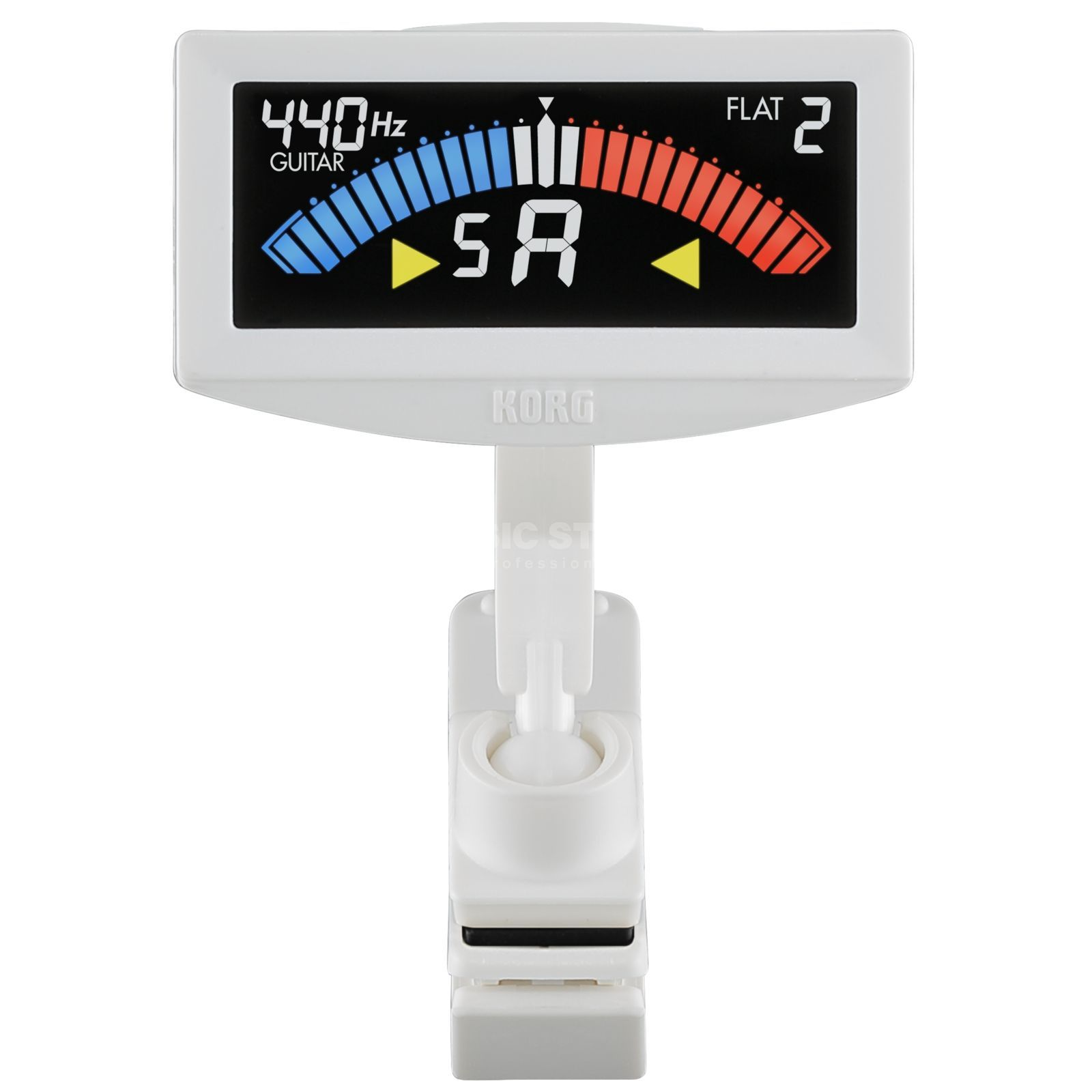 Korg AW-4G PitchCrow Clip-on Tuner Guitar white Produktbillede