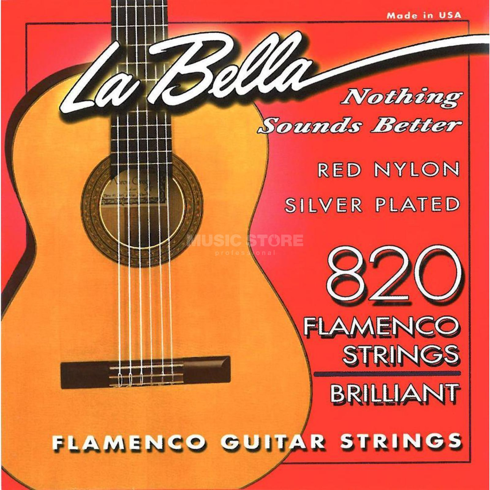 La Bella 820 Nylon Strings Flamenco Red Nylon Silver Product Image