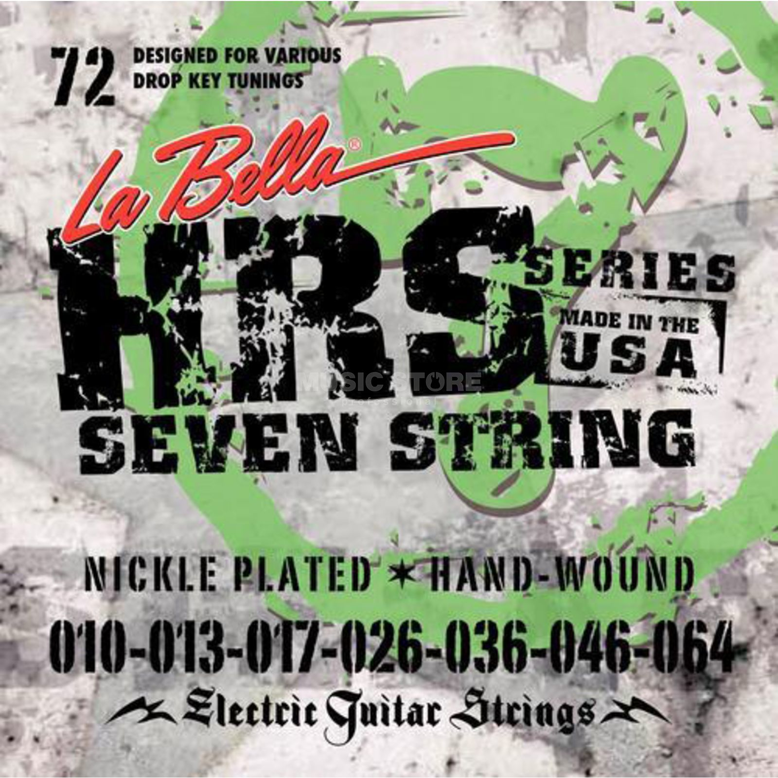 La Bella HRS-72 E-Guitar Strings 010-064 7-string, Nickel Produktbillede