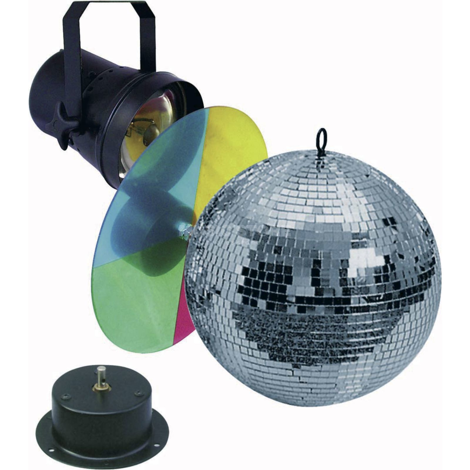 lightmaXX Mirror Ball Set 2 / 30cm Motor, Pinspot, Colour Changer Produktbillede