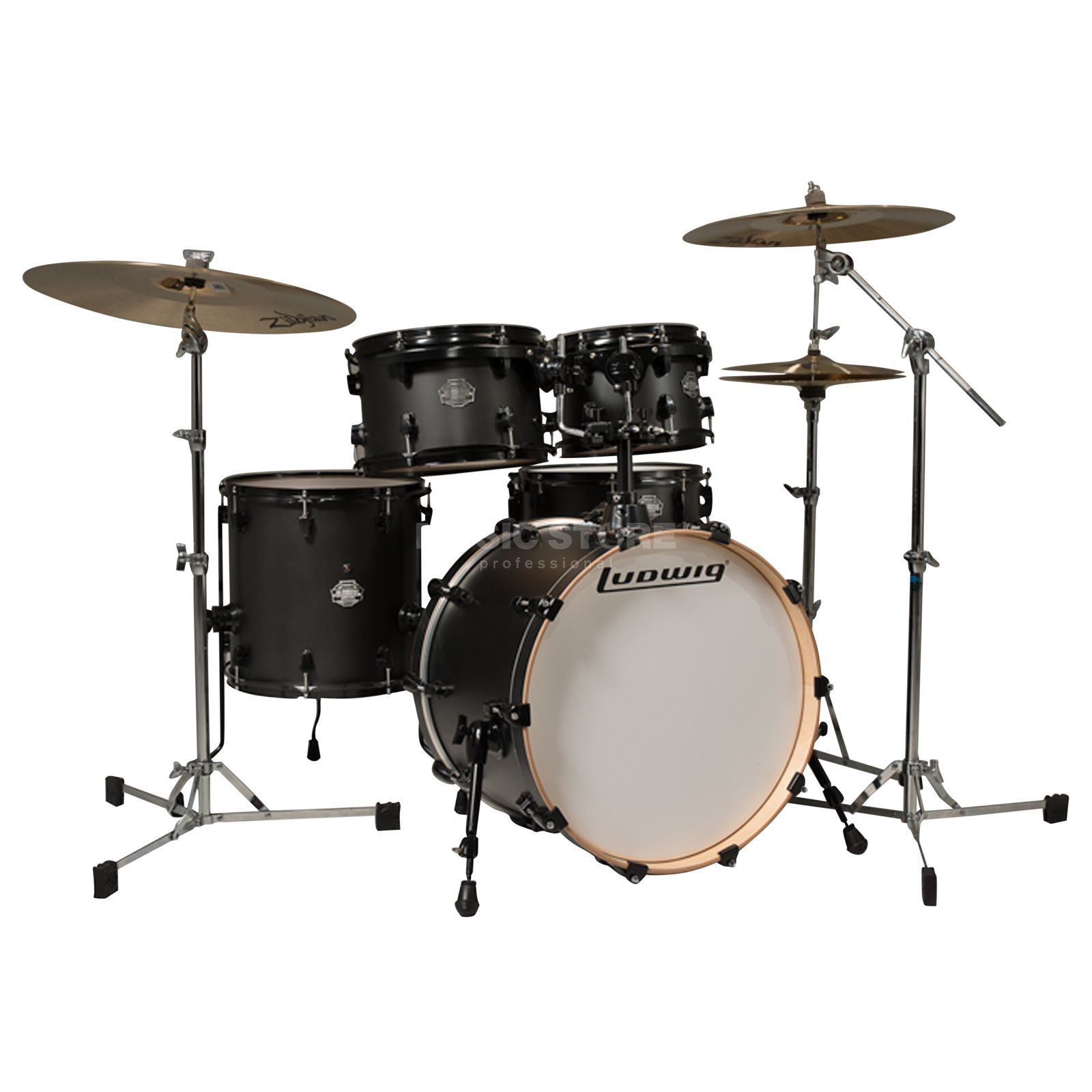 "Ludwig Element Birch ""Pop"" ShellSet, Satin Black #SB Produktbillede"