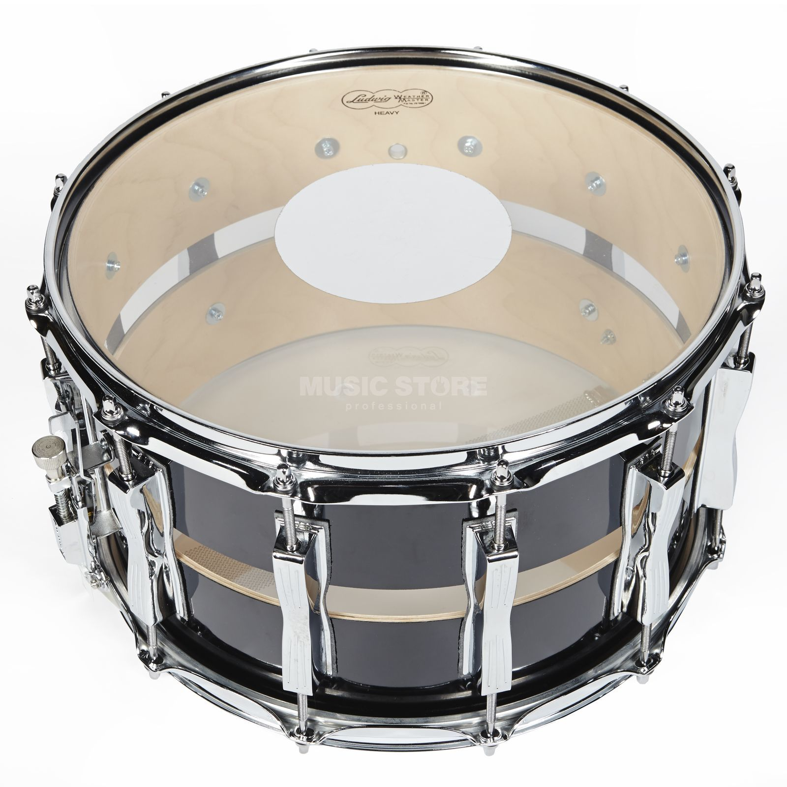 "Ludwig Slotted Coliseum Snare LS1284, 14""x8"", Black Cortex Produktbild"