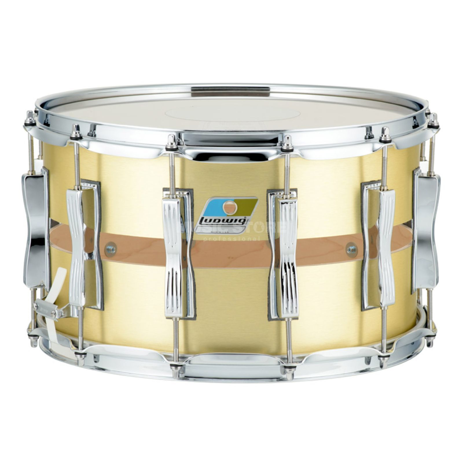 "Ludwig Slotted Coliseum Snare LS1284, 14""x8"", Brushed Gold Product Image"