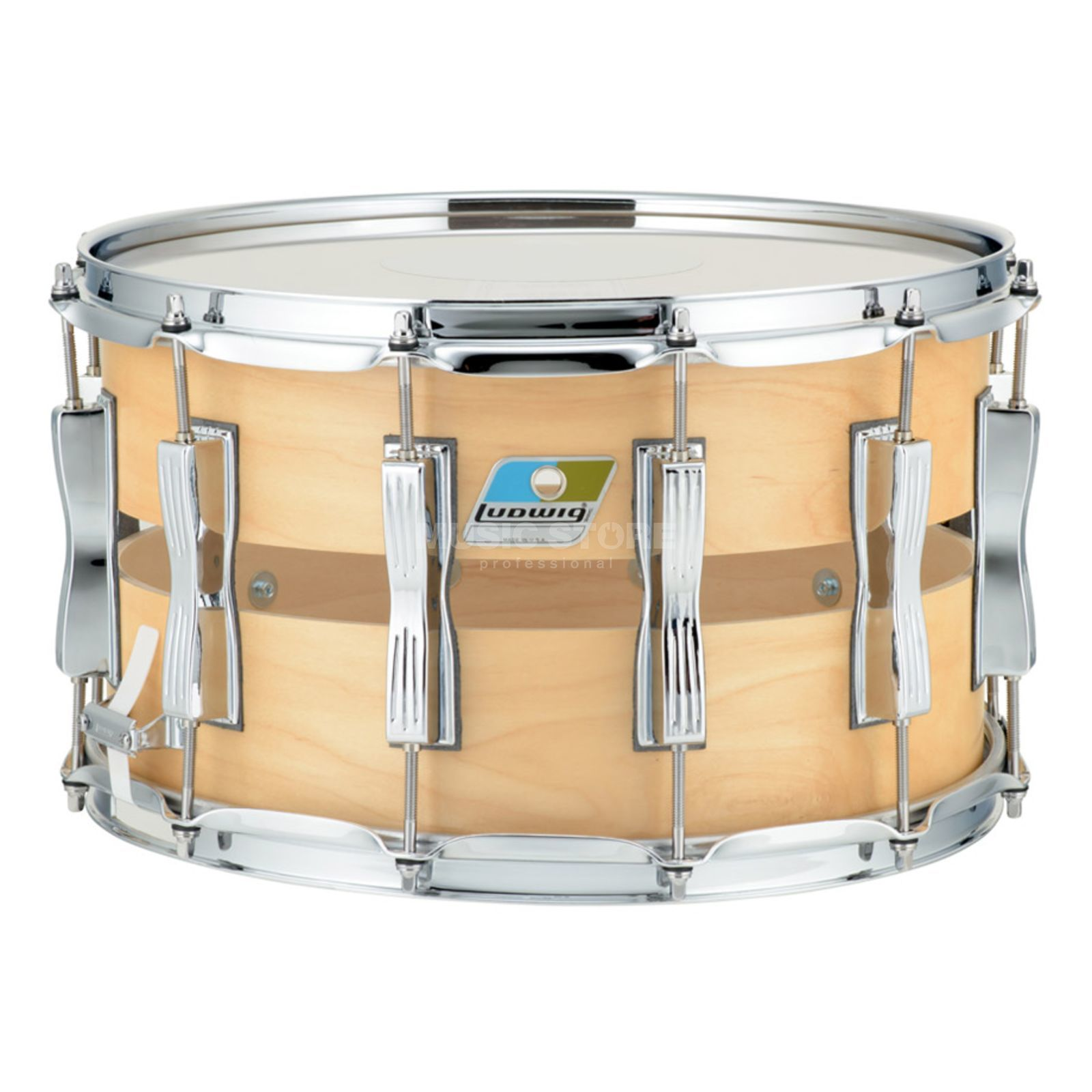 "Ludwig Slotted Coliseum Snare LS1284, 14""x8"", Maple Satin Product Image"