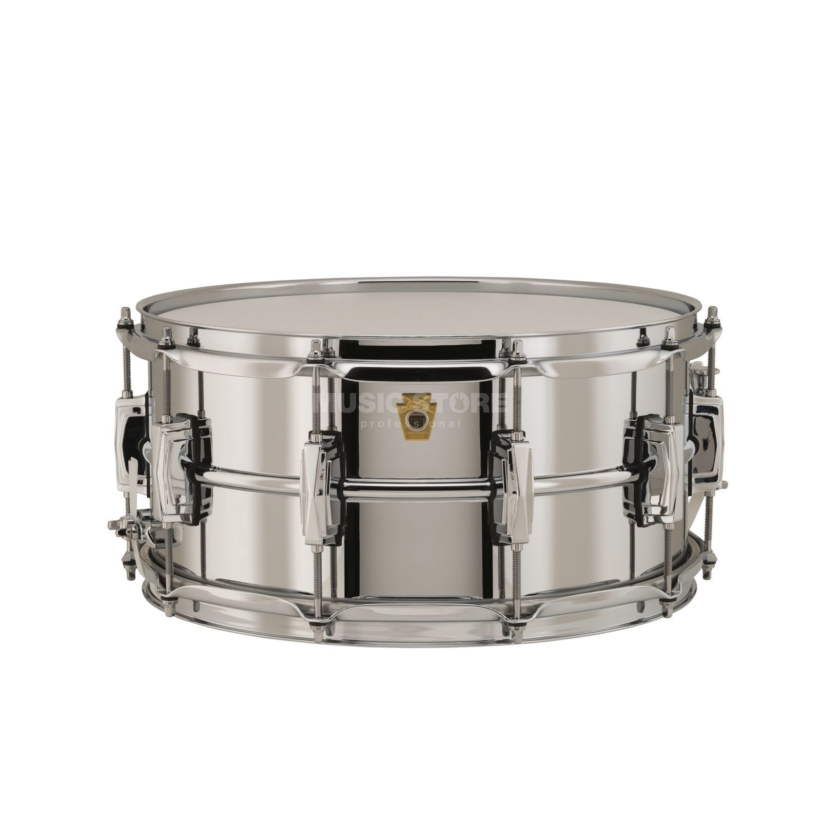 "Ludwig Supra Phonic Snare LB402B, 14""x6,5"", Chrome over Brass Produktbillede"