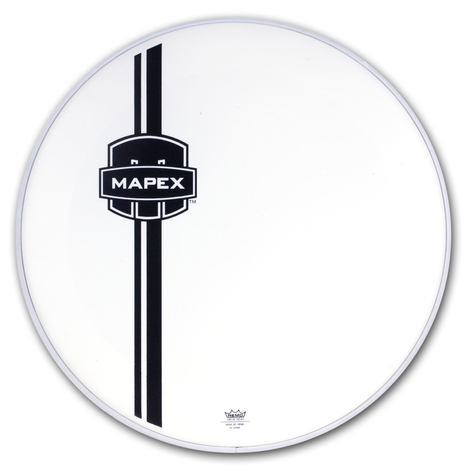 "Mapex Bass Drum Front Head 22"", white, black Logo Produktbillede"