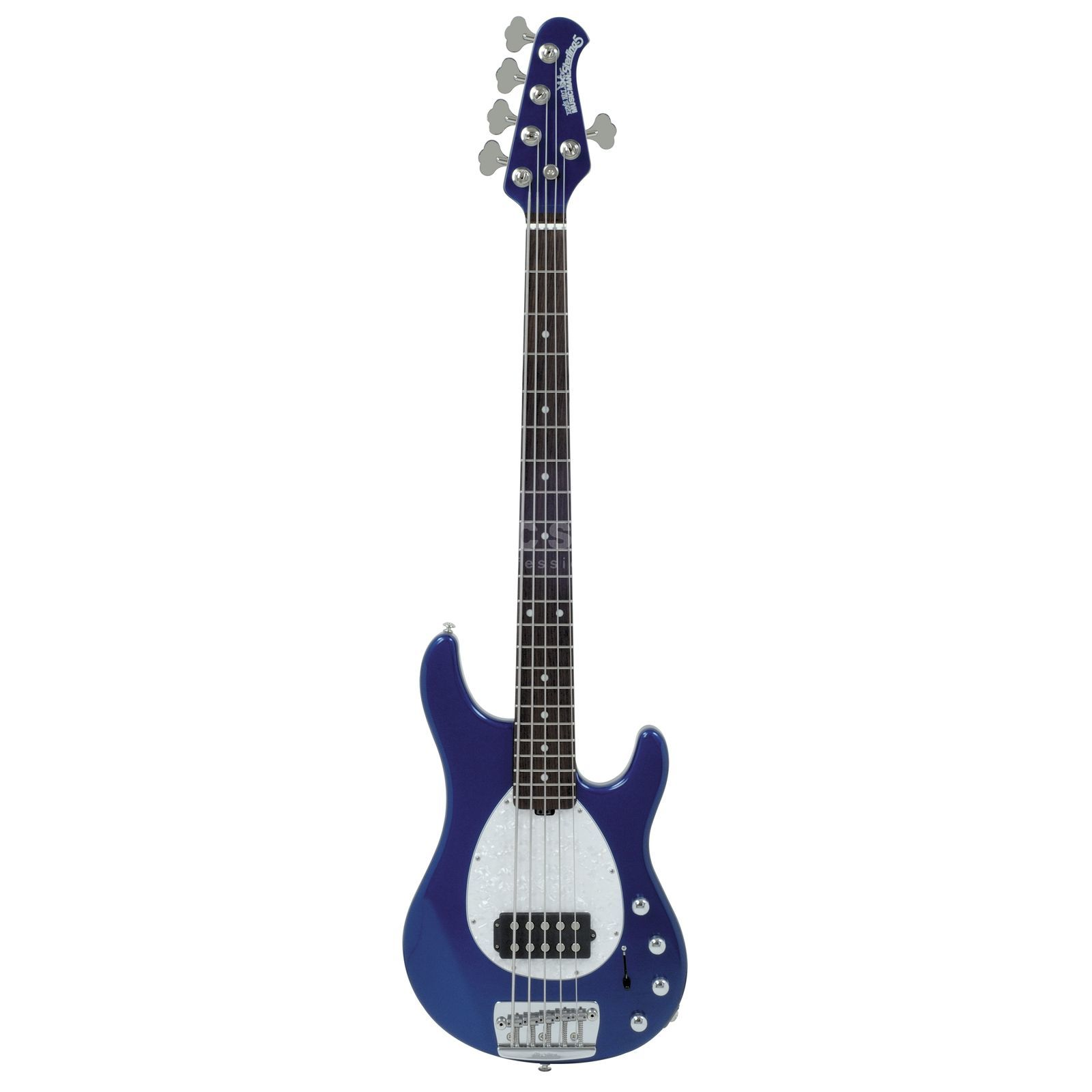 Music Man Sterling 5 RW MH Pearl blauw wit Pearl Pickguard, case Productafbeelding