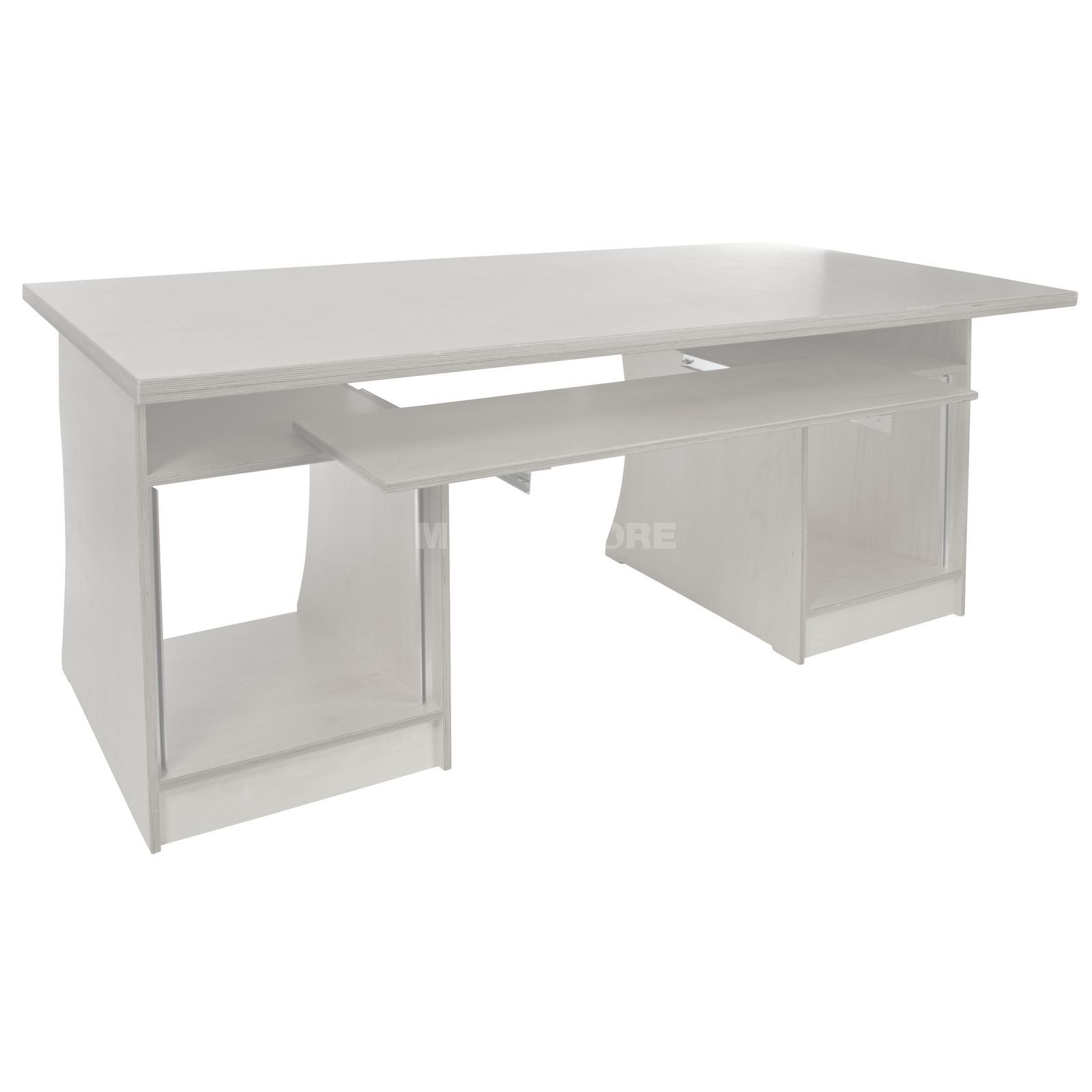 MUSIC STORE MAXXstation white lacquered 2x1m, Keyboard Shelf, 2x - 10HE-UB Produktbillede