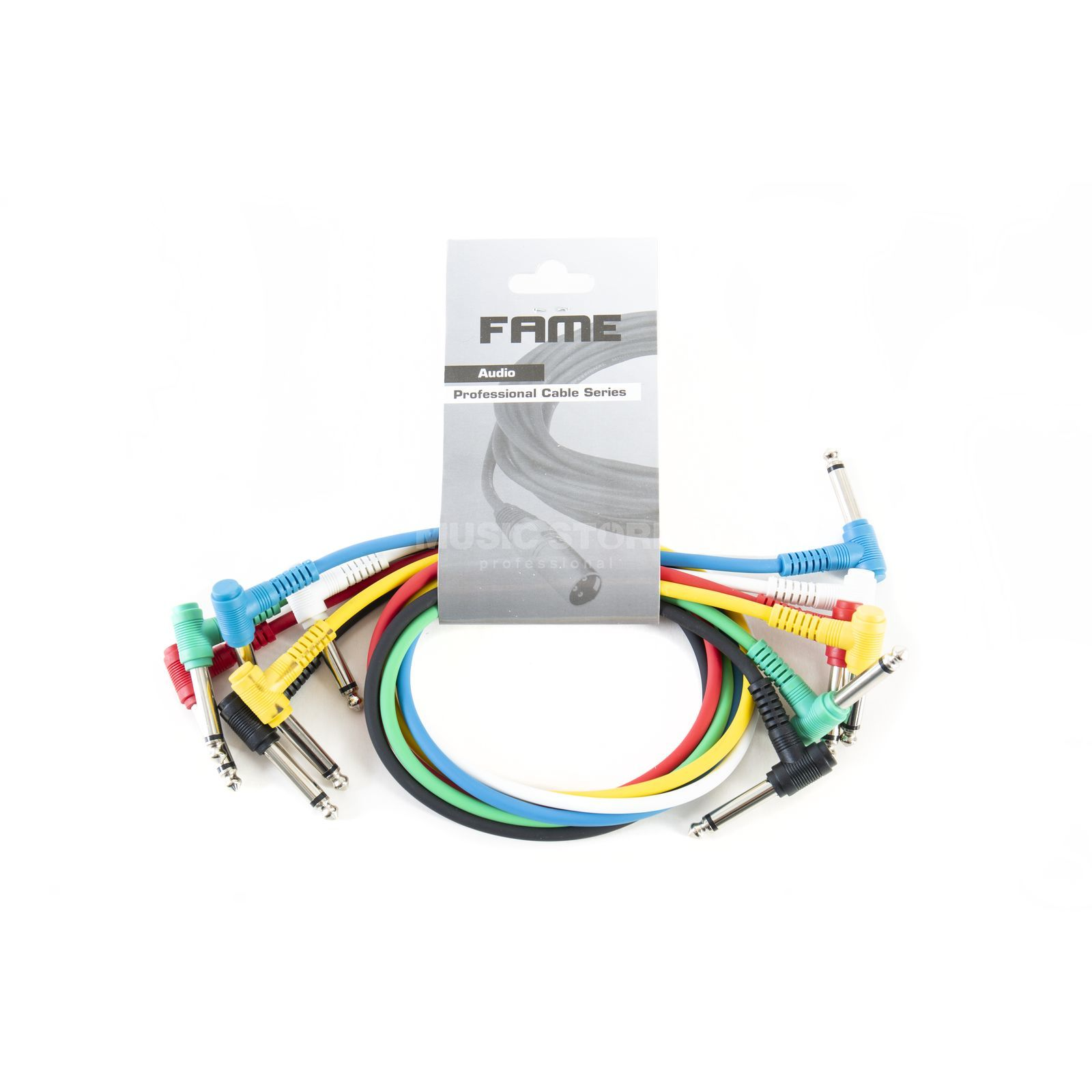 MUSIC STORE Patch Cable 0,6m Mono Right Angled, Pack Of 6 Produktbillede