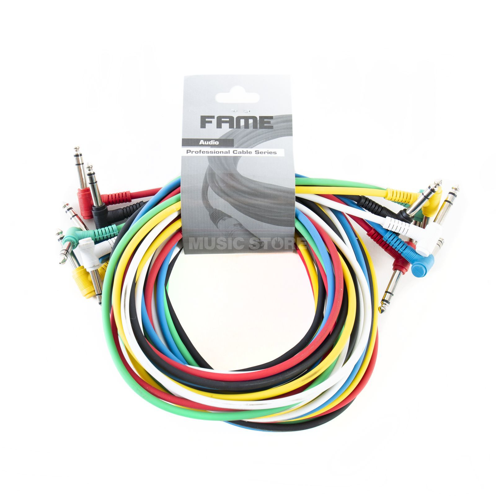 MUSIC STORE Patch Cables 3m Angled Pack Of 6 - Colourful Produktbillede