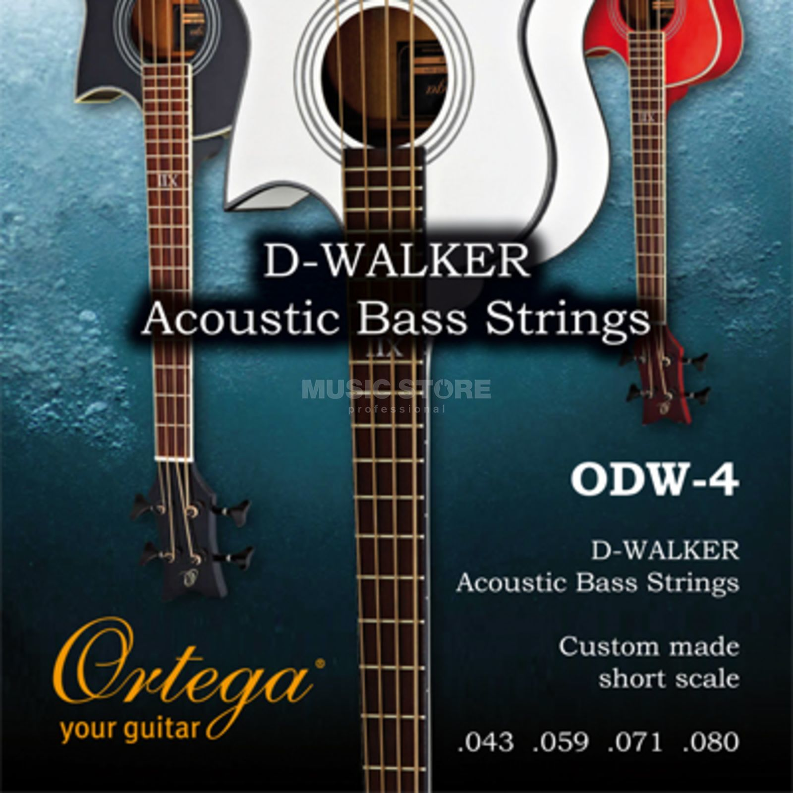 Ortega ODW-4 Walker Ac. Bass Strings 43-59-71-80, Short Scale Produktbillede