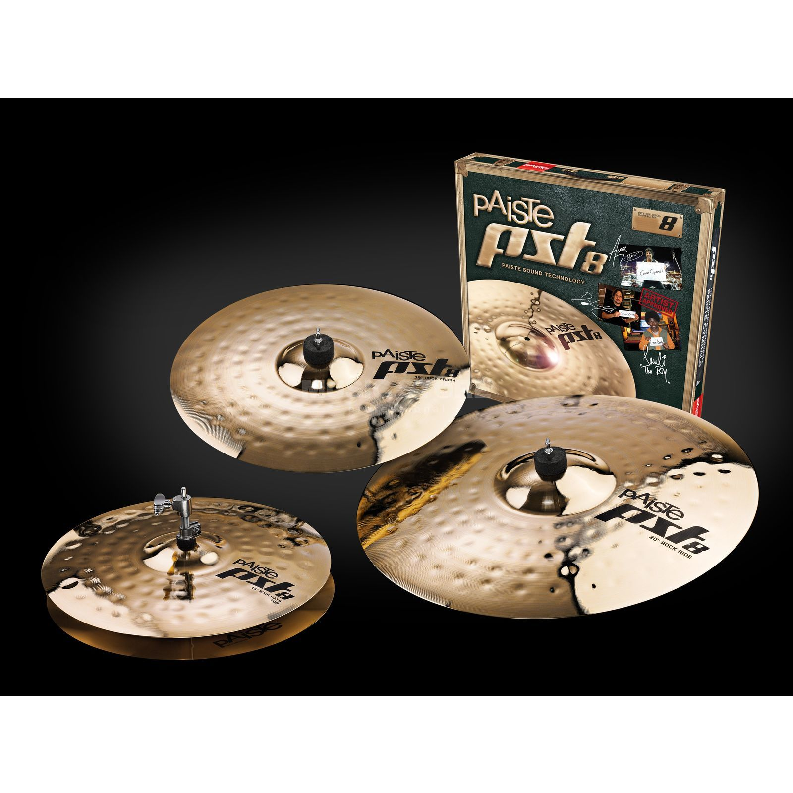 "Paiste PST8 Rock Cymbal Set, 14""HH, 16""CR, 20""R Product Image"