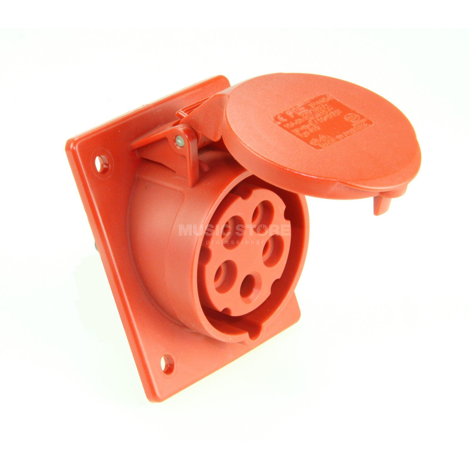 PCE Flanged Socket Sloping CEE 16A 5pin Turbo Twist, red Produktbillede