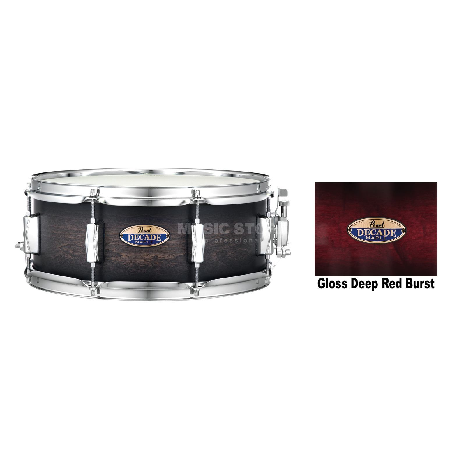 "Pearl Decade Maple Snare 14""x5,5"", Gloss Deep Red Burst #261 Image du produit"