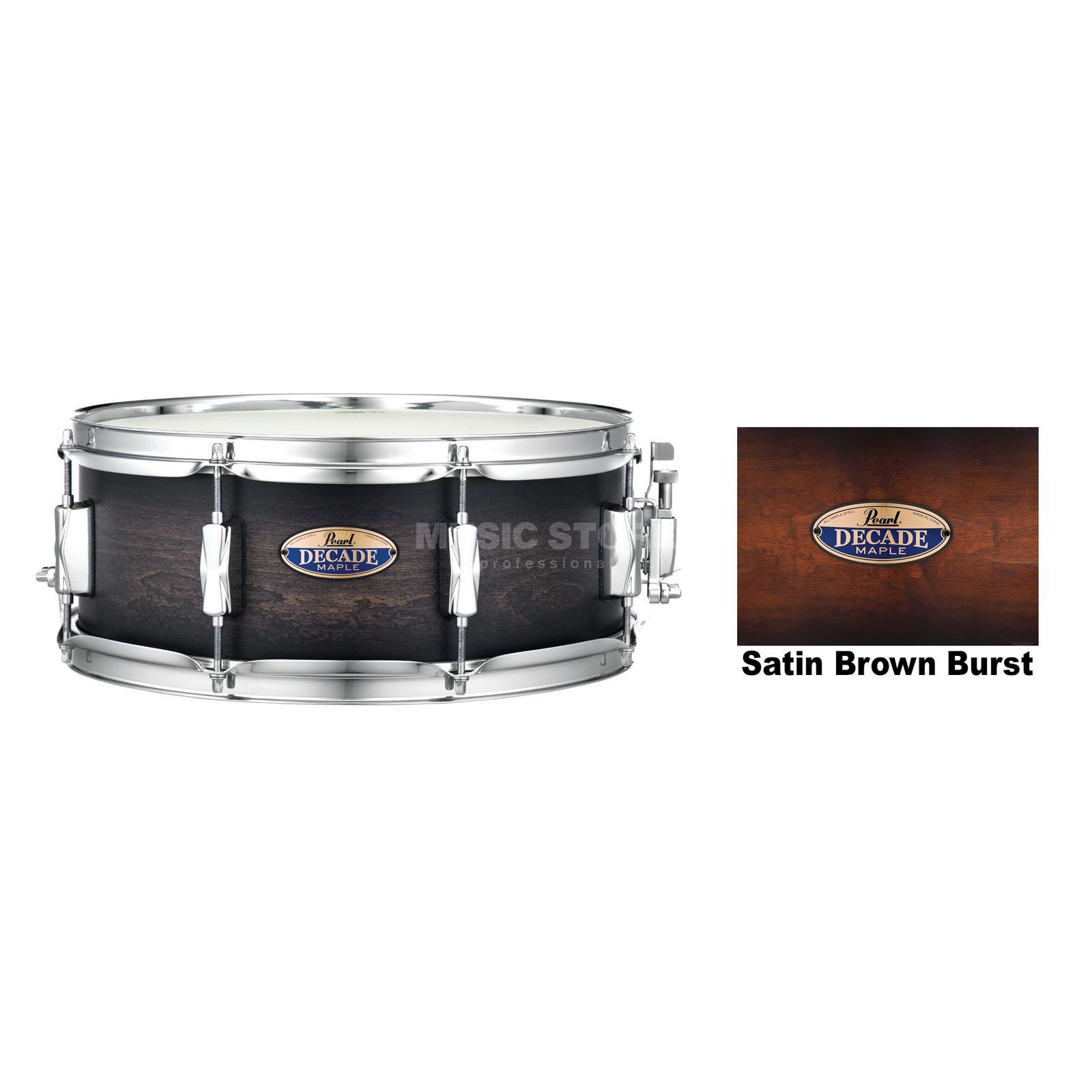 "Pearl Decade Maple Snare 14""x5,5"", Satin Brown Burst #260 Product Image"