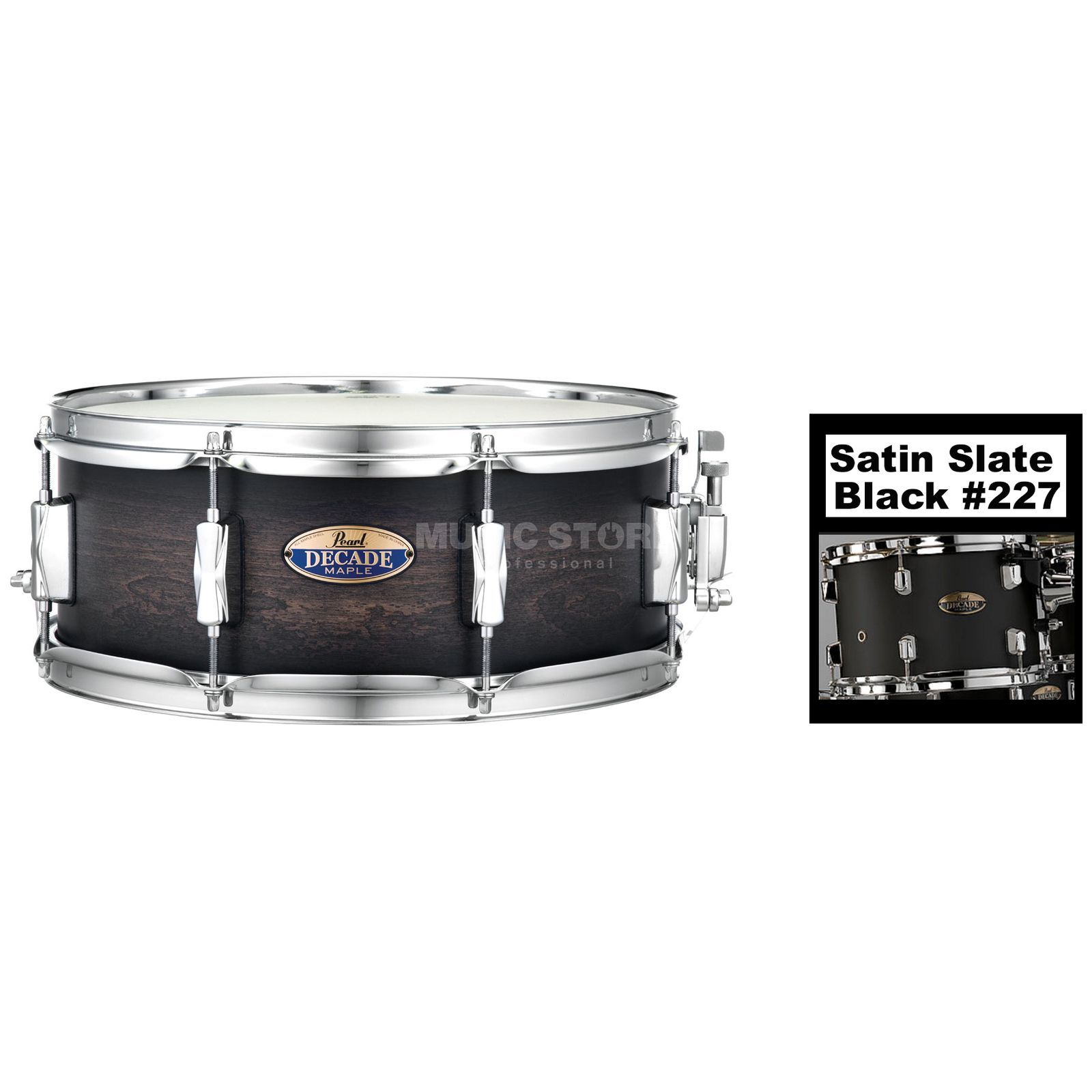 "Pearl Decade Maple Snare 14""x5,5"", Satin Slate Black #227 Изображение товара"
