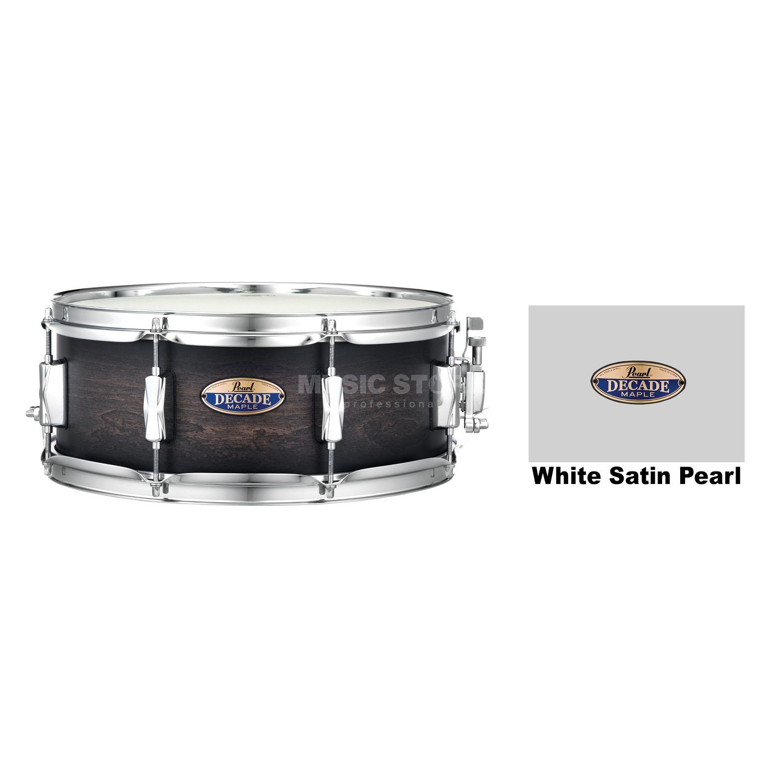 "Pearl Decade Maple Snare 14""x5,5"", White Satin Pearl #229 Product Image"
