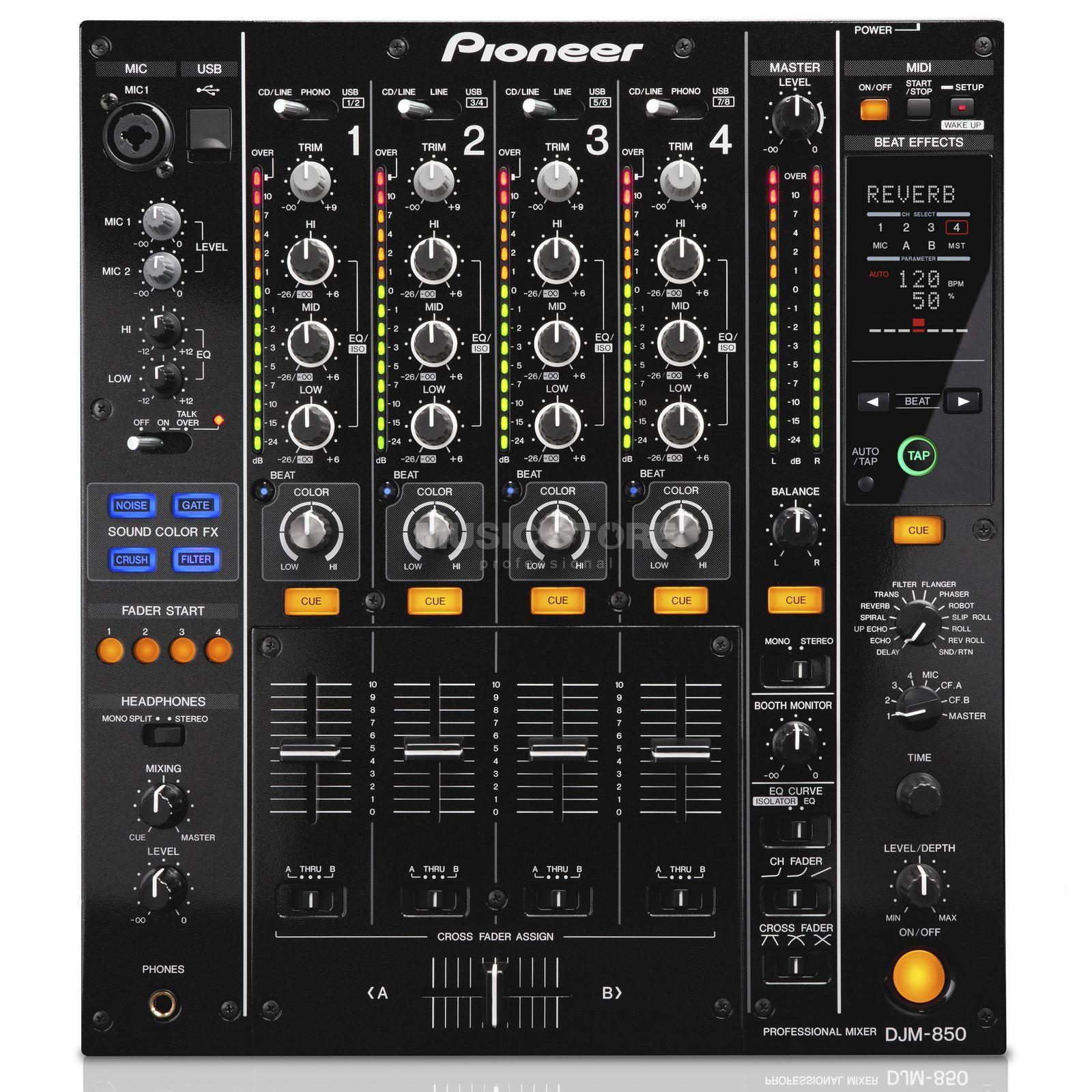 Pioneer mesa de mezcla djm 850 k 4 canales dj club negro for Mesa de mezclas dj