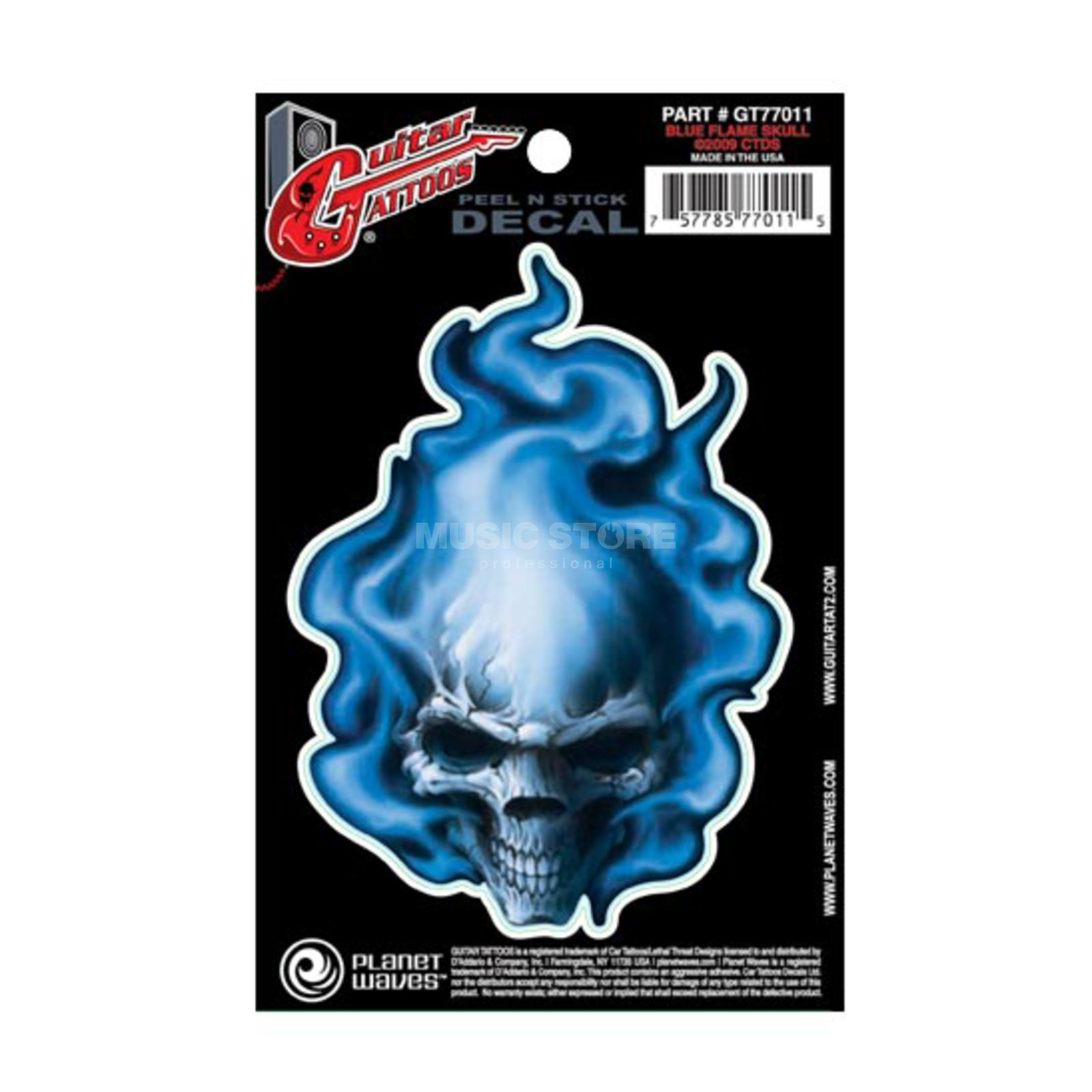Planet Waves Guitar Tattoo - Blue Flame Skull, GT77011 Produktbild