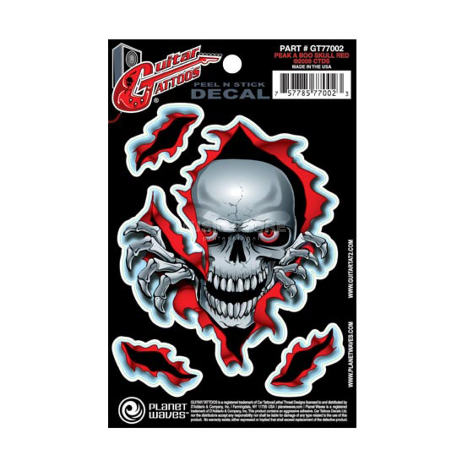 Planet Waves Guitar Tattoo - Peak A Boo Skull, GT77002 Produktbillede