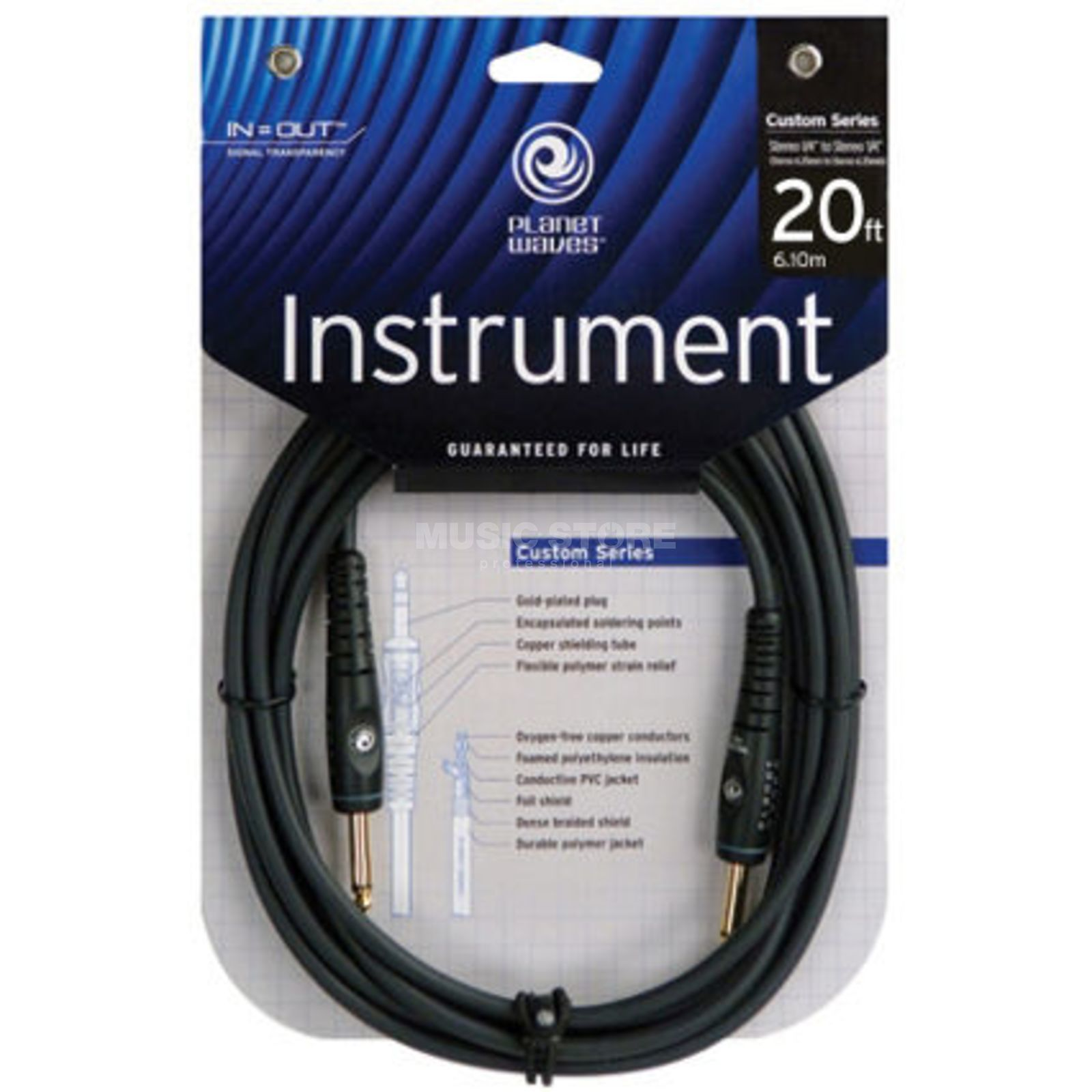 Planet Waves PW-G-20 Instrumentenkabel 6m Custom Produktbild