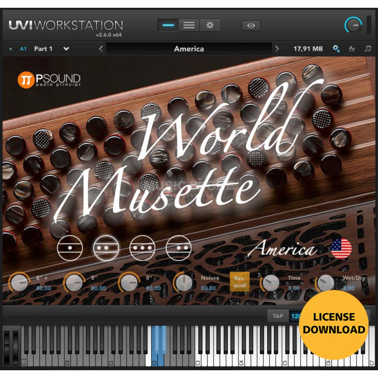 PSOUND PAOLO PRINCIPI PSOUND World Musette Accordeon (CODE) incl. UVI Workstation Produktbild