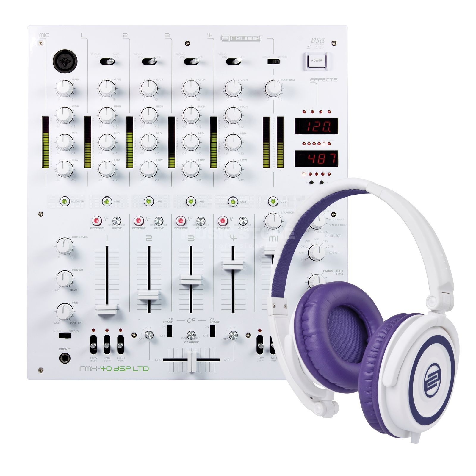 Reloop Sensational white RMX40 (RMX 40 DSP Ltd. incl. RHP-5) Productafbeelding